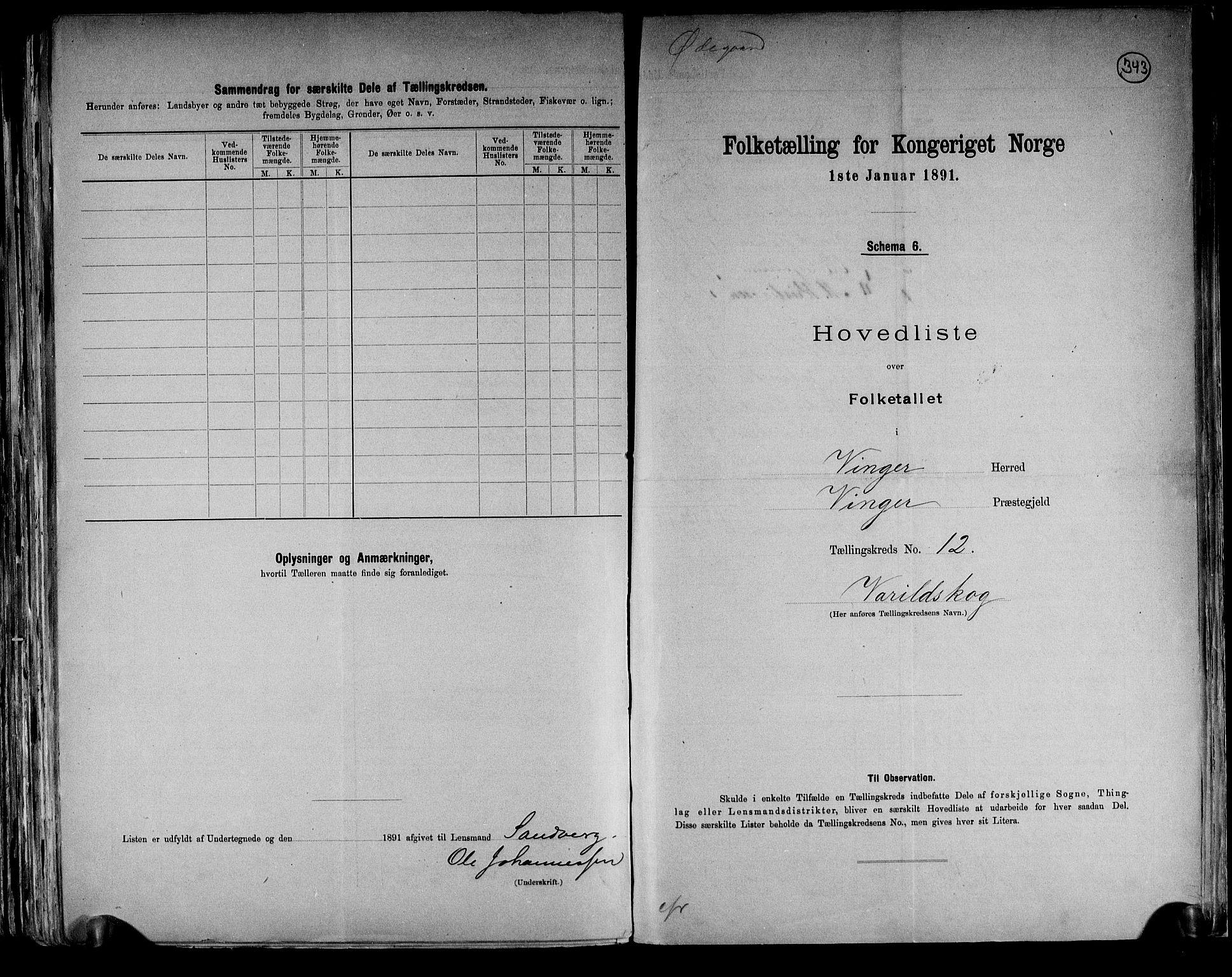 RA, Folketelling 1891 for 0421 Vinger herred, 1891, s. 26