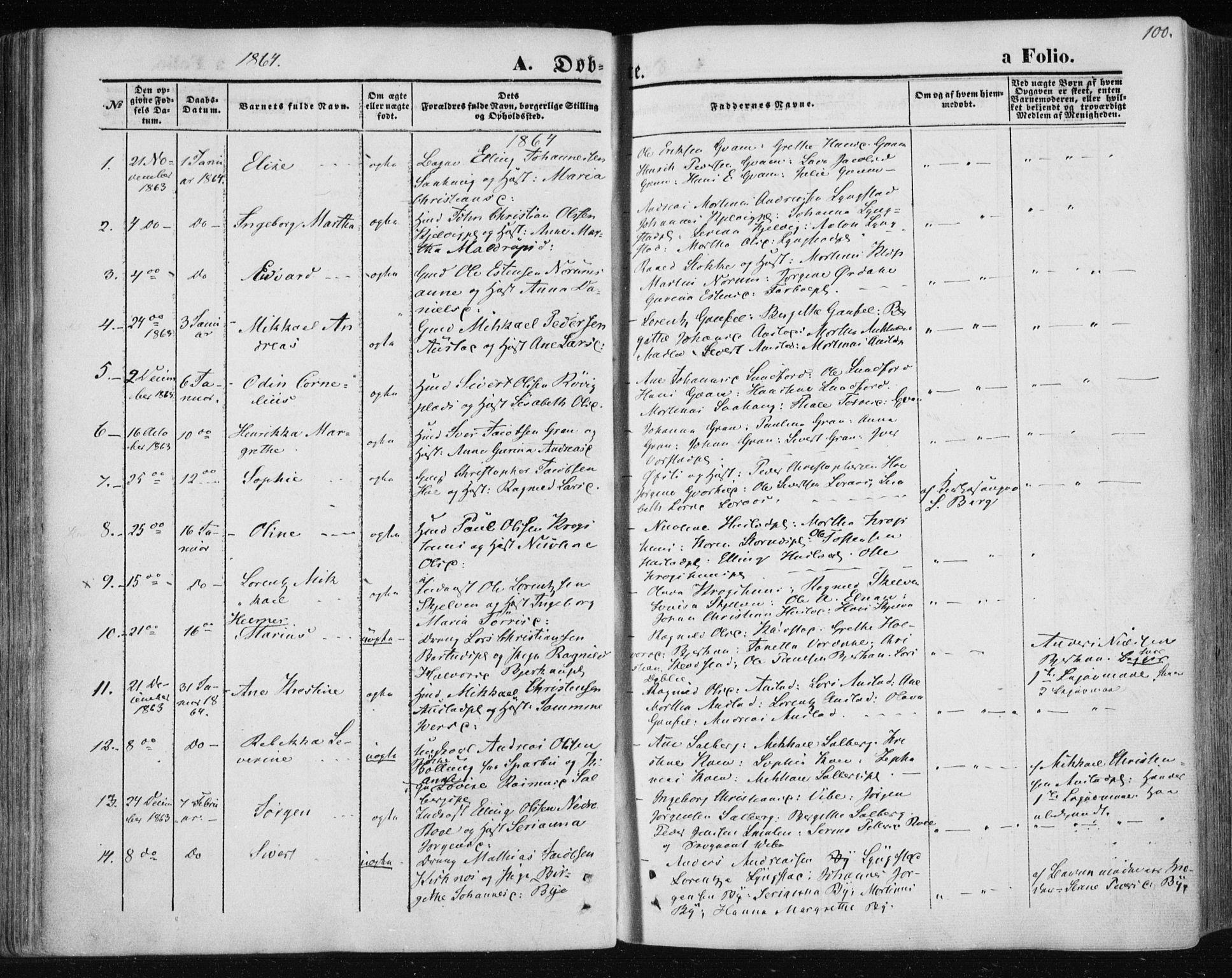 SAT, Ministerialprotokoller, klokkerbøker og fødselsregistre - Nord-Trøndelag, 730/L0283: Ministerialbok nr. 730A08, 1855-1865, s. 100