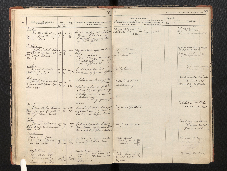 SAB, Lensmannen i Innvik, 0006/L0005: Dødsfallprotokoll, 1921-1932, s. 52b-53a