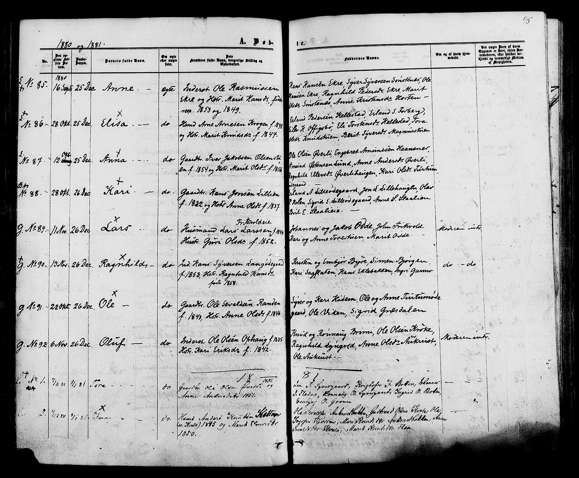 SAH, Lom prestekontor, K/L0007: Ministerialbok nr. 7, 1863-1884, s. 95