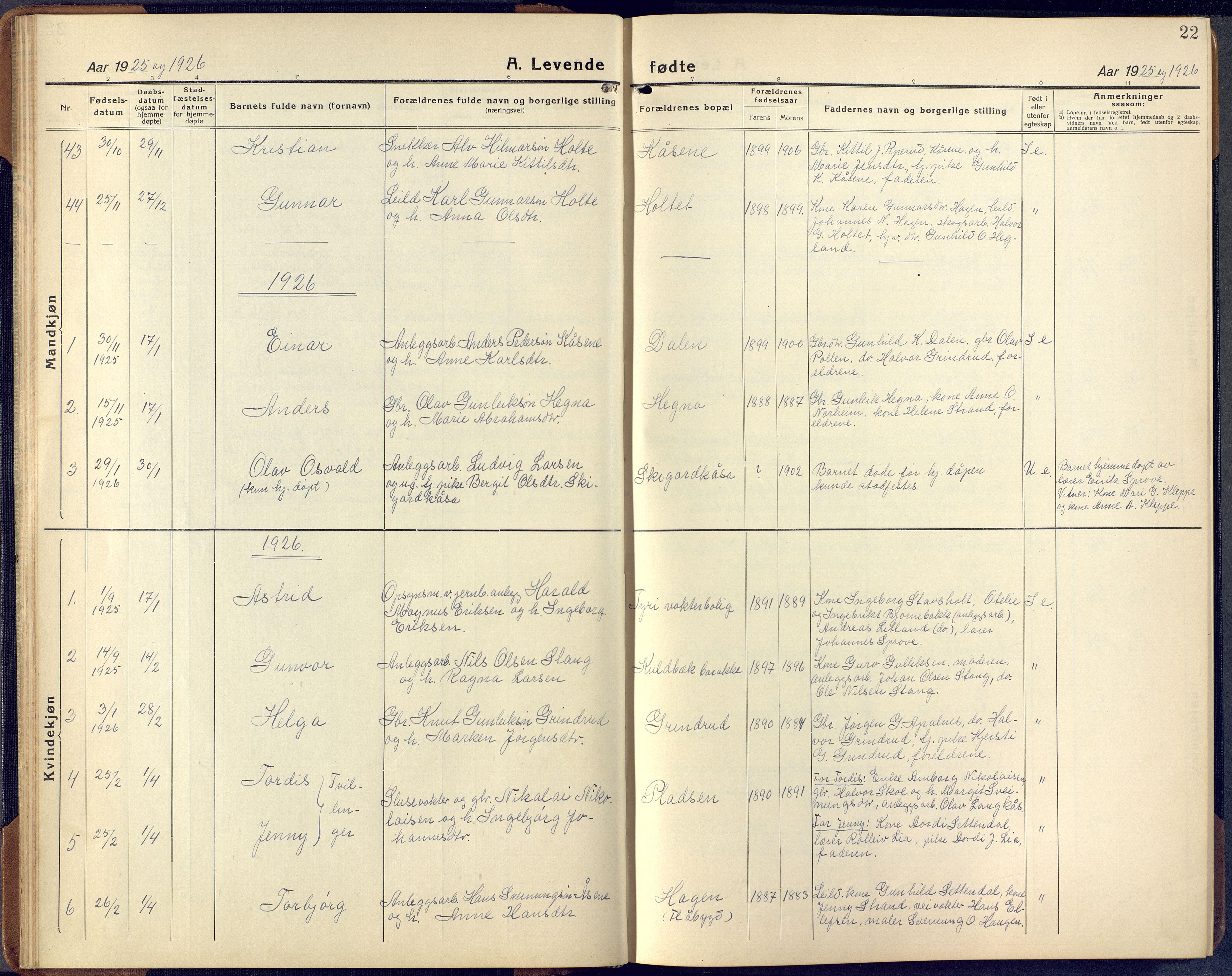 SAKO, Lunde kirkebøker, F/Fa/L0006: Ministerialbok nr. I 6, 1922-1940, s. 22