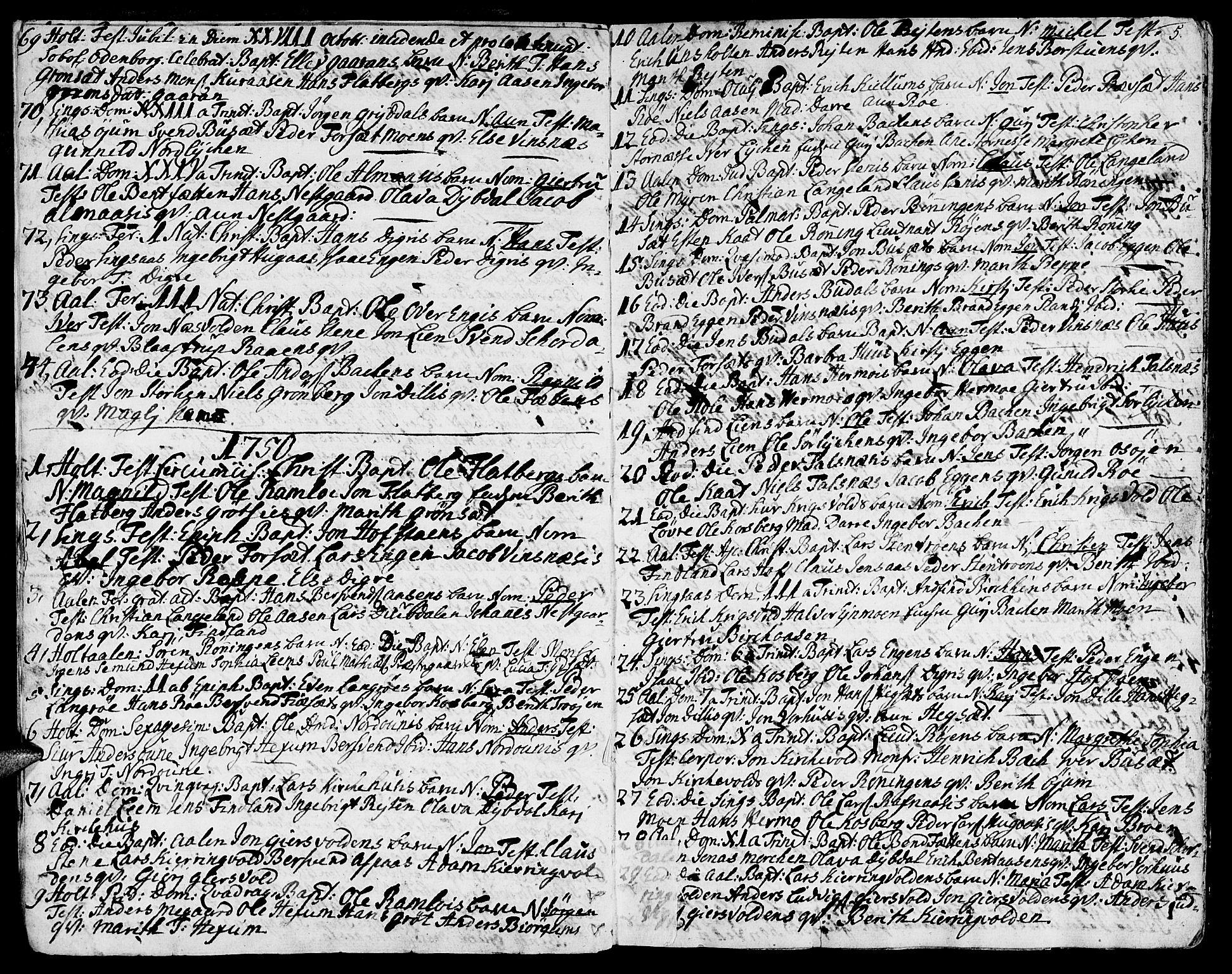 SAT, Ministerialprotokoller, klokkerbøker og fødselsregistre - Sør-Trøndelag, 685/L0952: Ministerialbok nr. 685A01, 1745-1804, s. 5