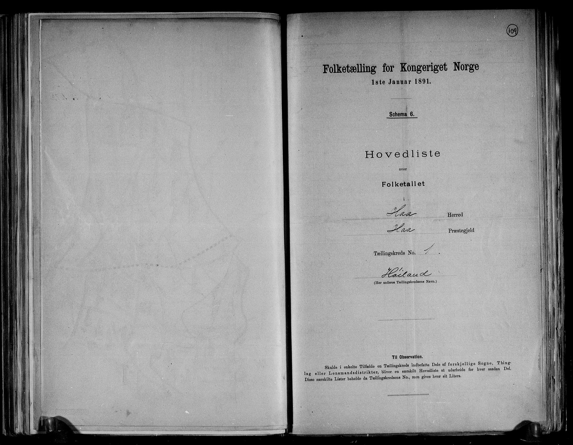 RA, Folketelling 1891 for 1119 Hå herred, 1891, s. 6