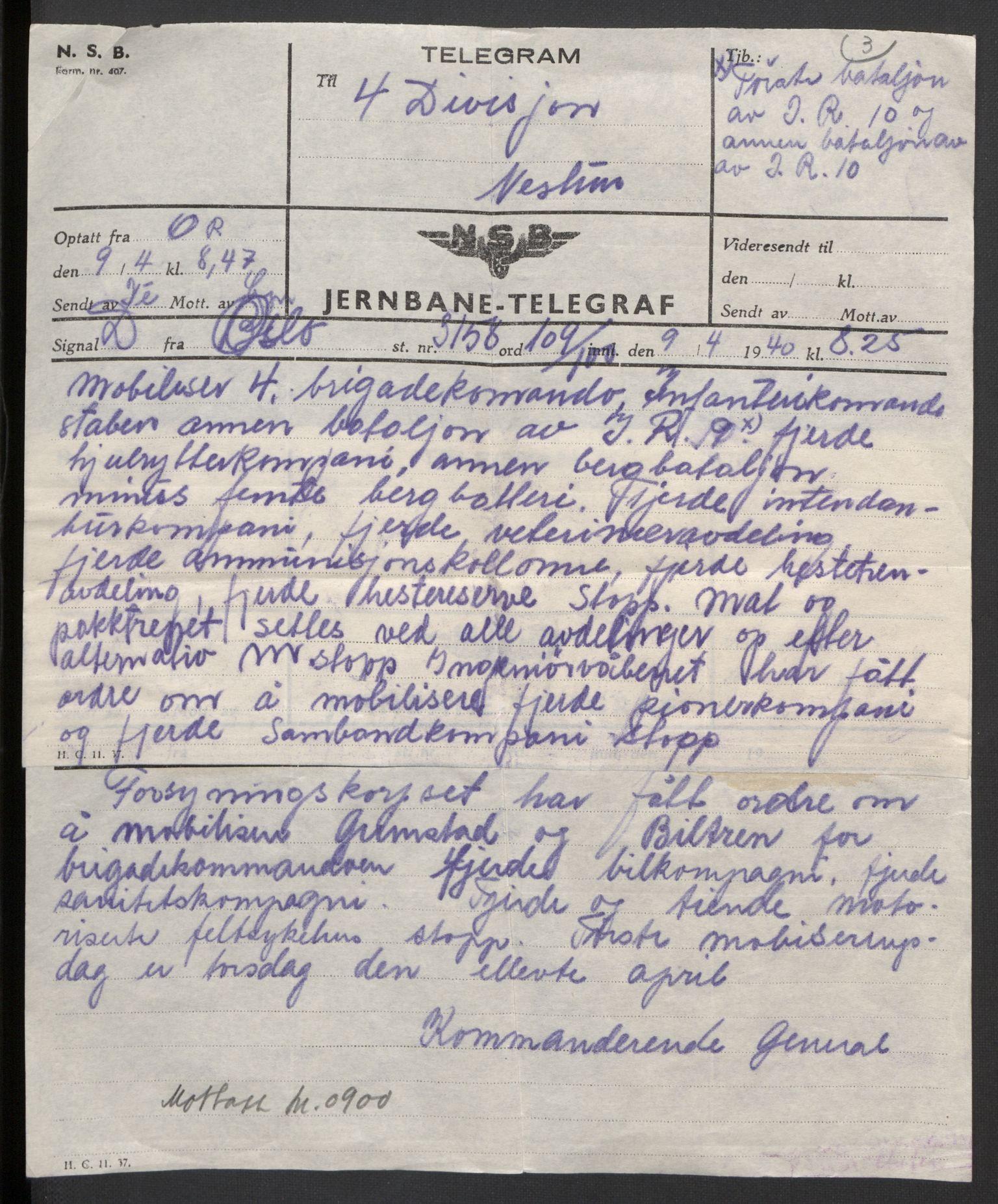 RA, Forsvaret, Forsvarets krigshistoriske avdeling, Y/Yb/L0104: II-C-11-430  -  4. Divisjon., 1940, s. 19