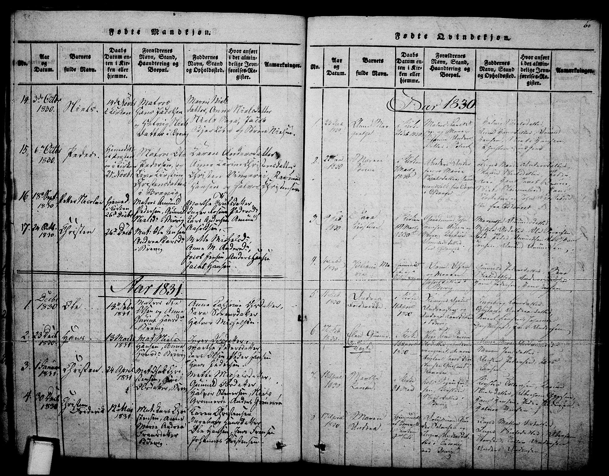 SAKO, Brevik kirkebøker, F/Fa/L0004: Ministerialbok nr. 4, 1814-1846, s. 60