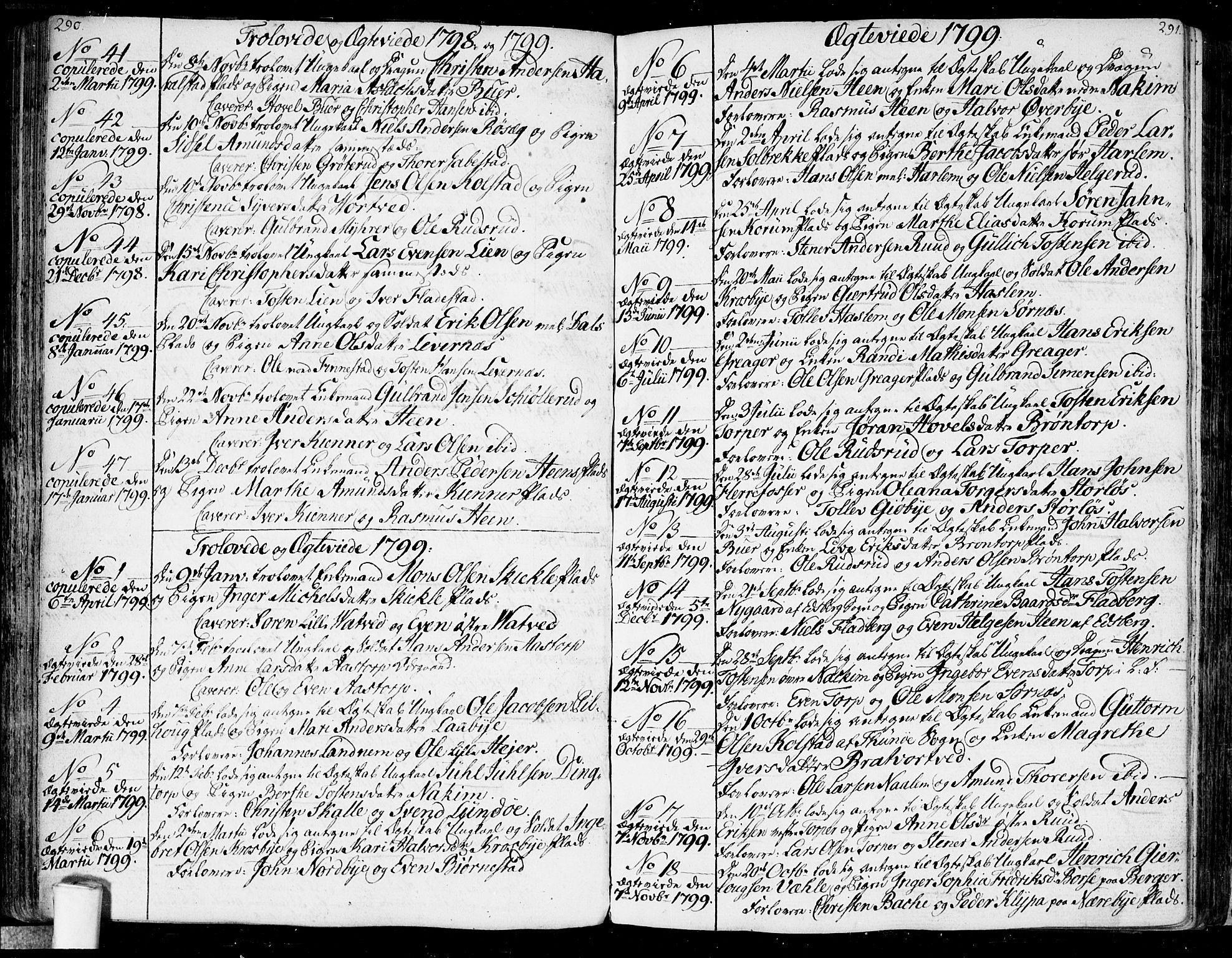 SAO, Rakkestad prestekontor Kirkebøker, F/Fa/L0005: Ministerialbok nr. I 5, 1784-1814, s. 290-291