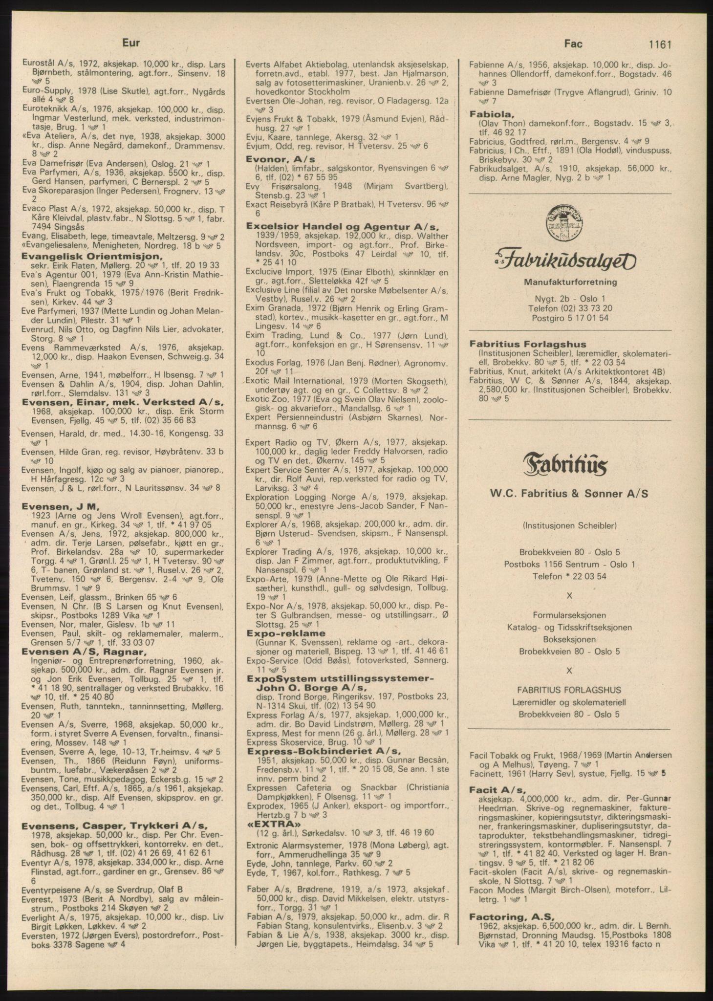PUBL, Kristiania/Oslo adressebok, 1980-1981, s. 1161