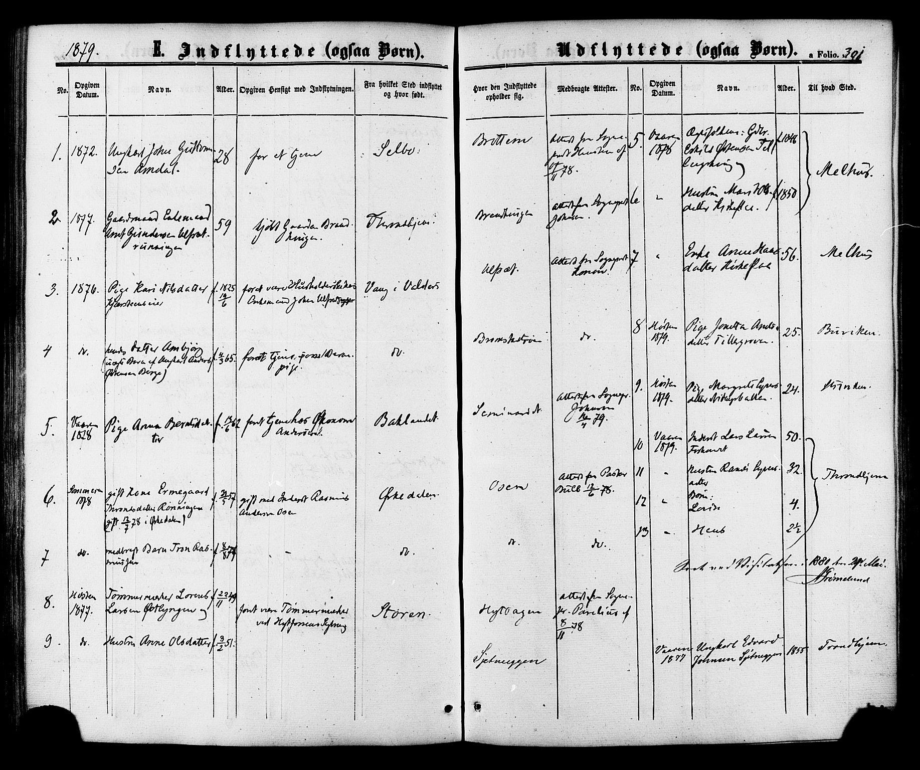 SAT, Ministerialprotokoller, klokkerbøker og fødselsregistre - Sør-Trøndelag, 618/L0442: Ministerialbok nr. 618A06 /1, 1863-1879, s. 301