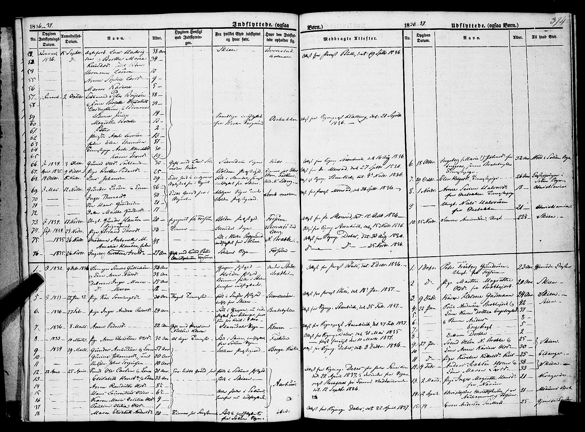 SAKO, Gjerpen kirkebøker, F/Fa/L0007b: Ministerialbok nr. 7B, 1834-1857, s. 374