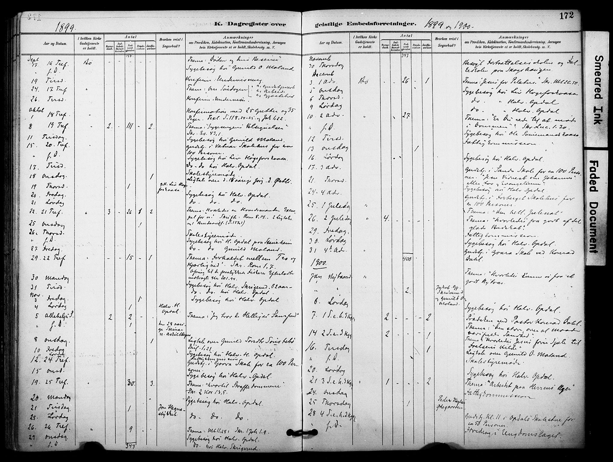 SAKO, Bø kirkebøker, F/Fa/L0011: Ministerialbok nr. 11, 1892-1900, s. 172