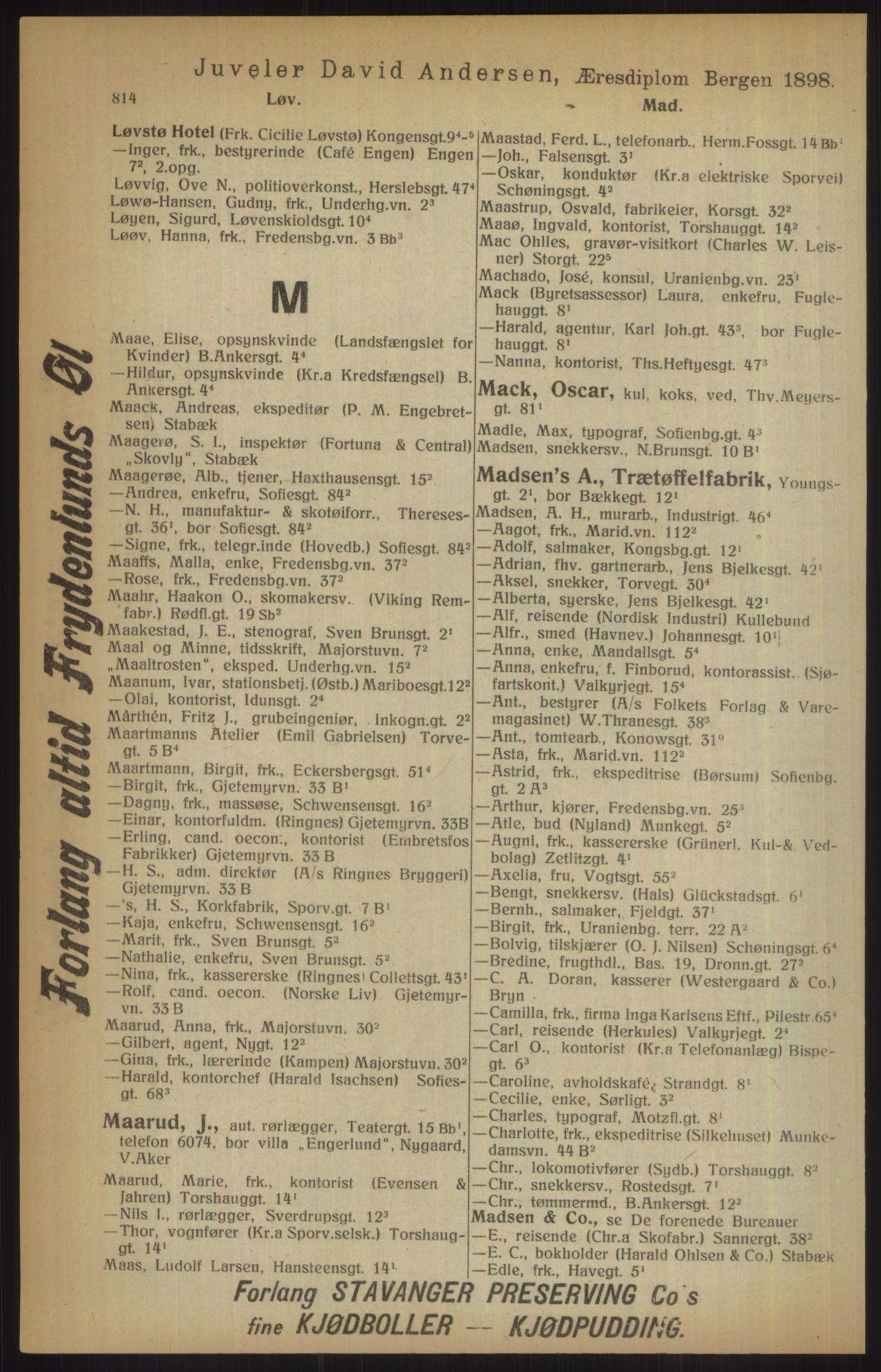 RA, Kristiania adressebok (publikasjon)*, 1915, s. 814