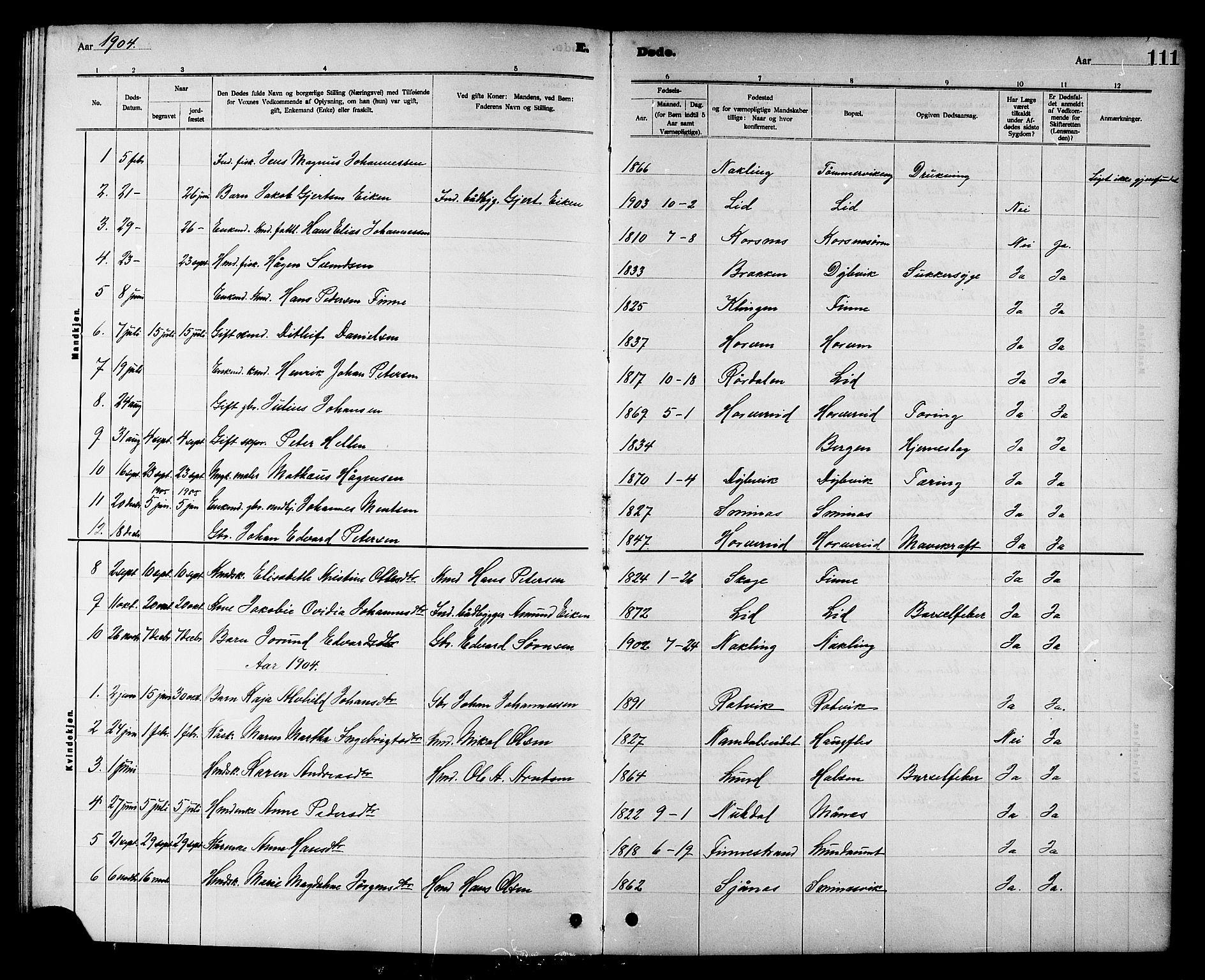 SAT, Ministerialprotokoller, klokkerbøker og fødselsregistre - Nord-Trøndelag, 780/L0652: Klokkerbok nr. 780C04, 1899-1911, s. 111