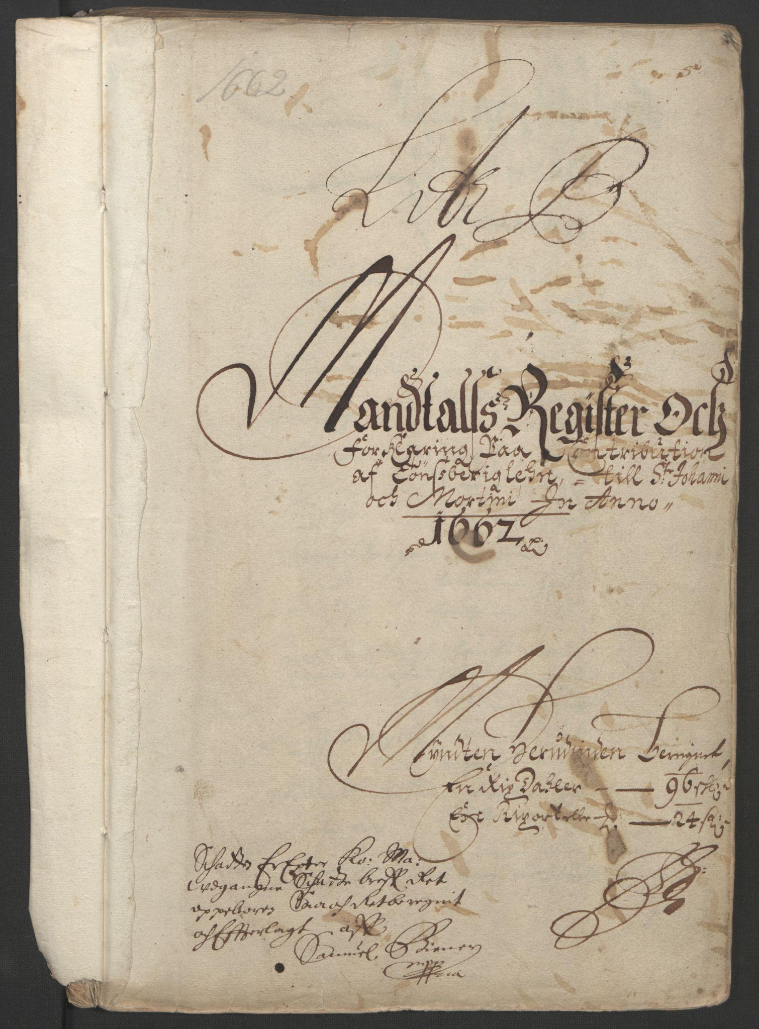 RA, Rentekammeret inntil 1814, Reviderte regnskaper, Fogderegnskap, R32/L1838: Fogderegnskap Jarlsberg grevskap, 1661-1663, s. 174