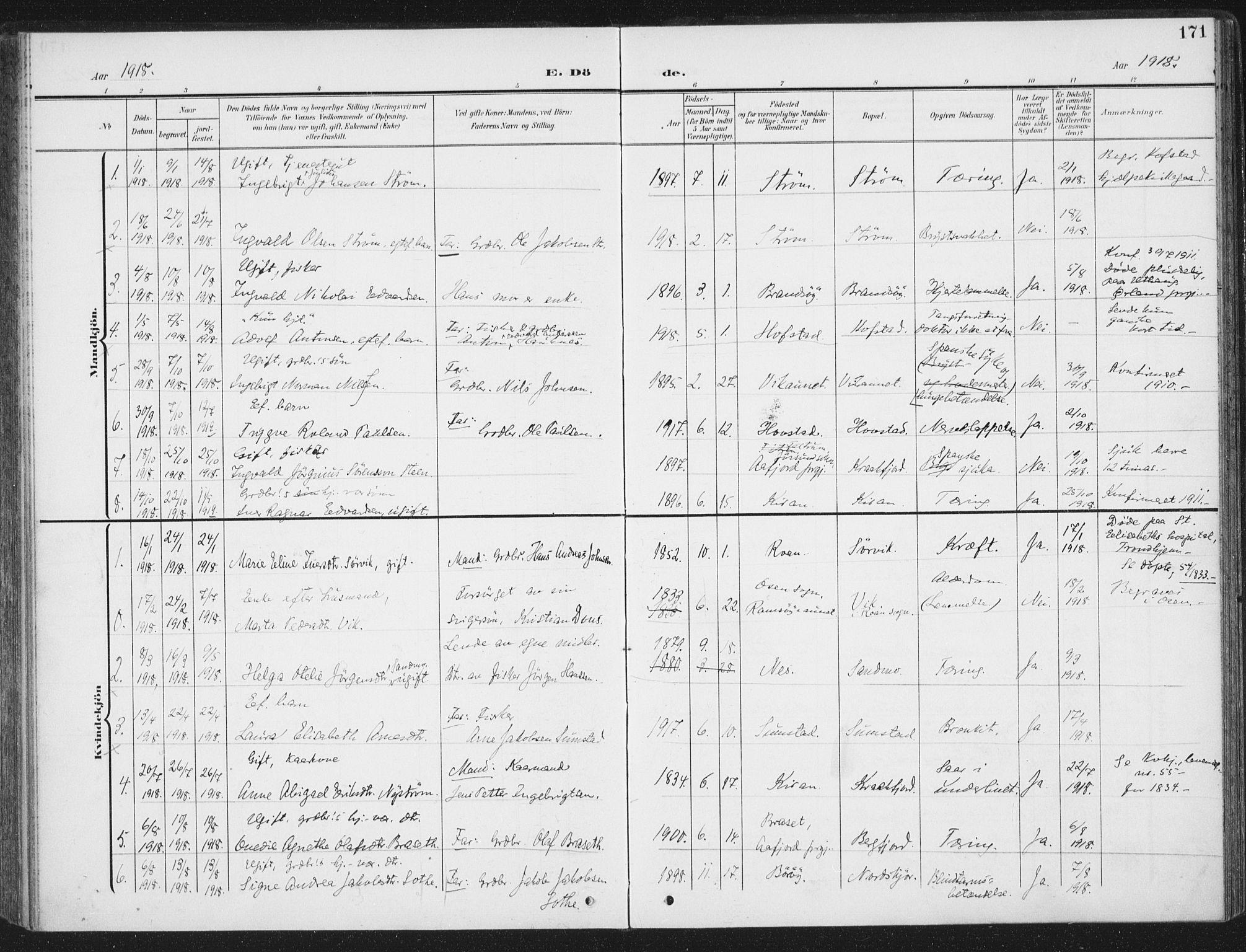 SAT, Ministerialprotokoller, klokkerbøker og fødselsregistre - Sør-Trøndelag, 657/L0709: Ministerialbok nr. 657A10, 1905-1919, s. 171