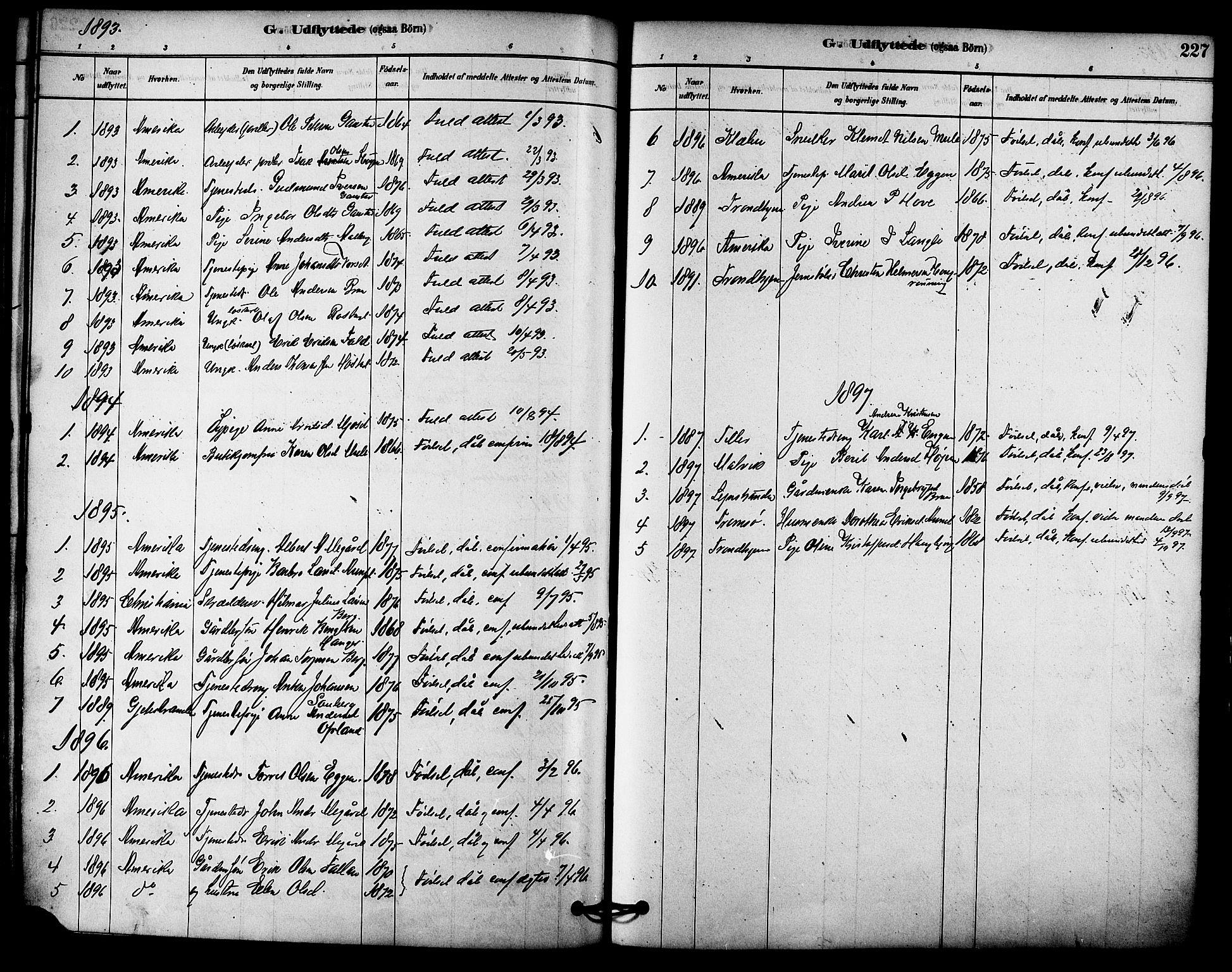 SAT, Ministerialprotokoller, klokkerbøker og fødselsregistre - Sør-Trøndelag, 612/L0378: Ministerialbok nr. 612A10, 1878-1897, s. 227
