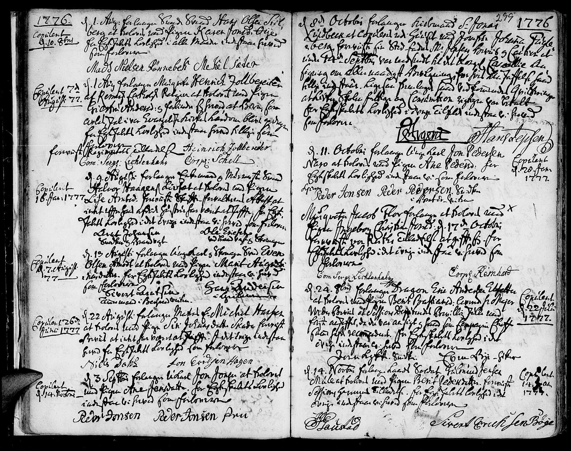 SAT, Ministerialprotokoller, klokkerbøker og fødselsregistre - Sør-Trøndelag, 601/L0038: Ministerialbok nr. 601A06, 1766-1877, s. 299