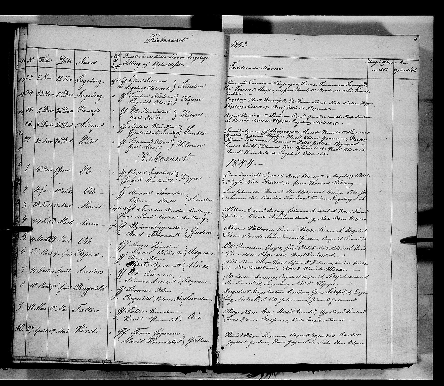 SAH, Nord-Aurdal prestekontor, Ministerialbok nr. 6, 1842-1863, s. 6