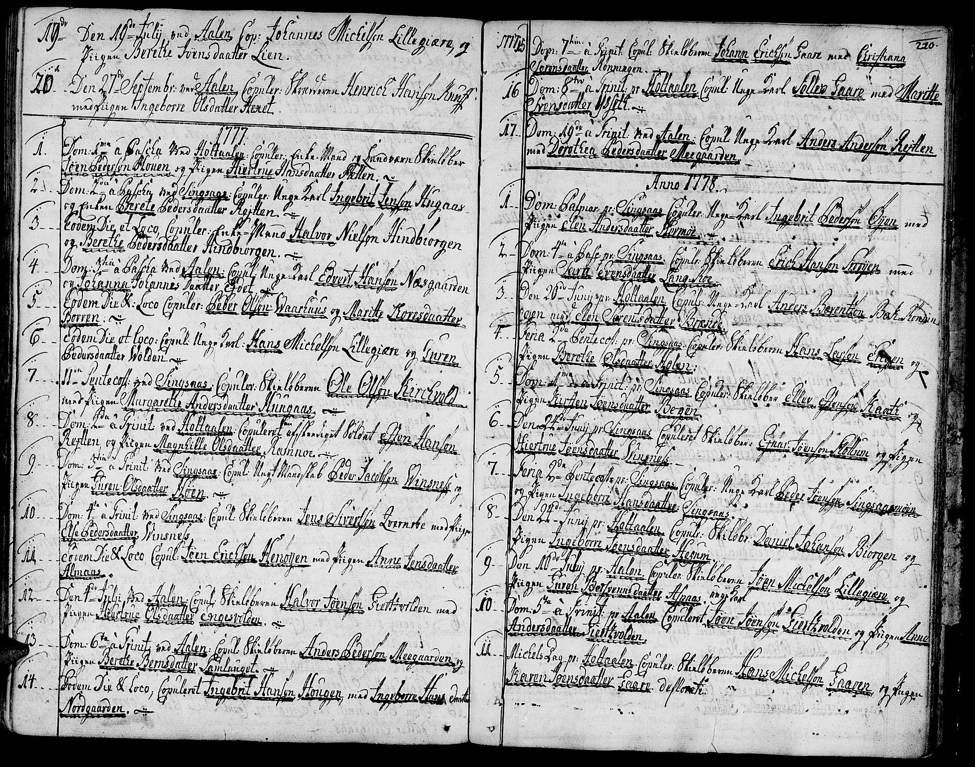 SAT, Ministerialprotokoller, klokkerbøker og fødselsregistre - Sør-Trøndelag, 685/L0952: Ministerialbok nr. 685A01, 1745-1804, s. 210