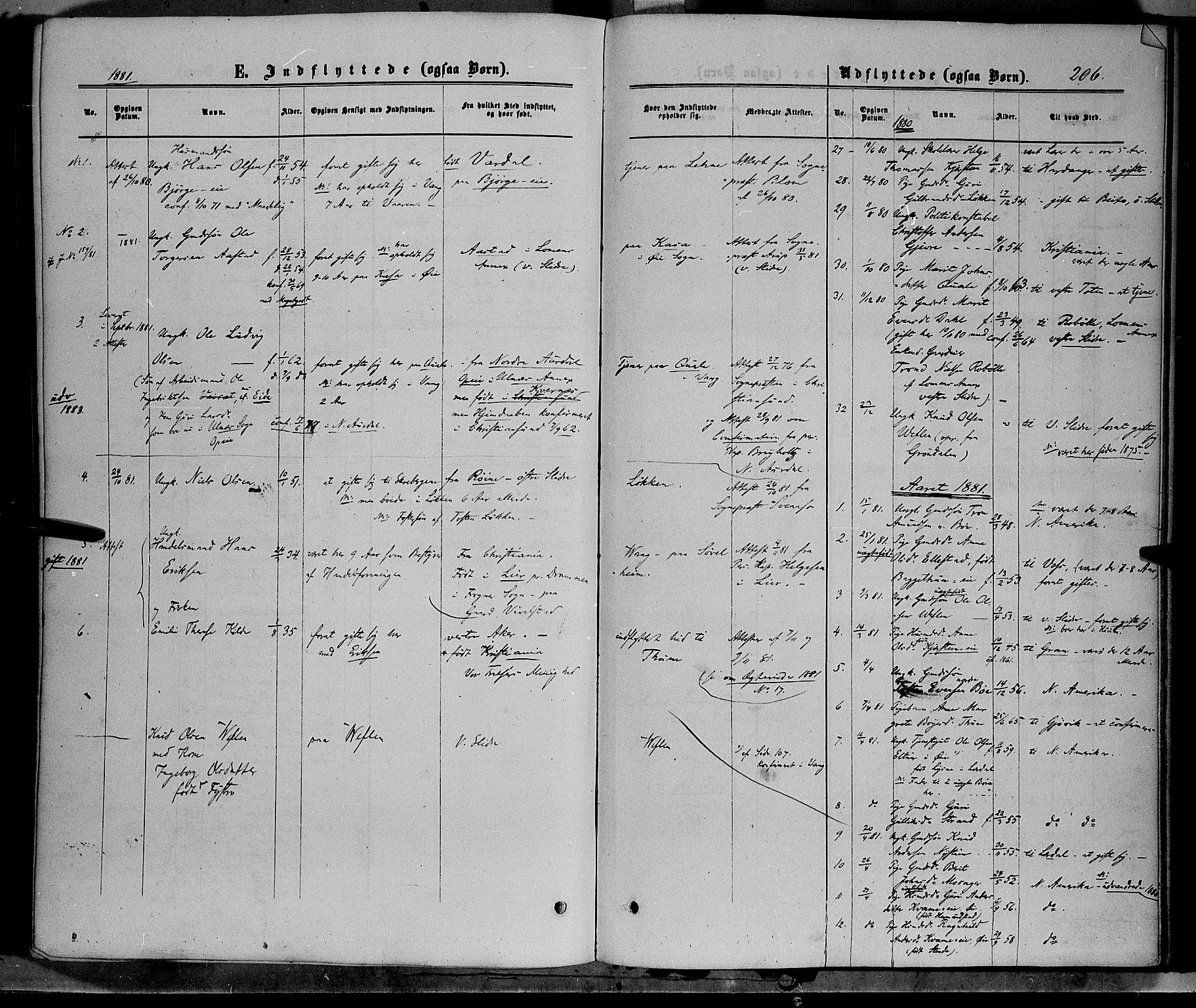 SAH, Vang prestekontor, Valdres, Ministerialbok nr. 7, 1865-1881, s. 206