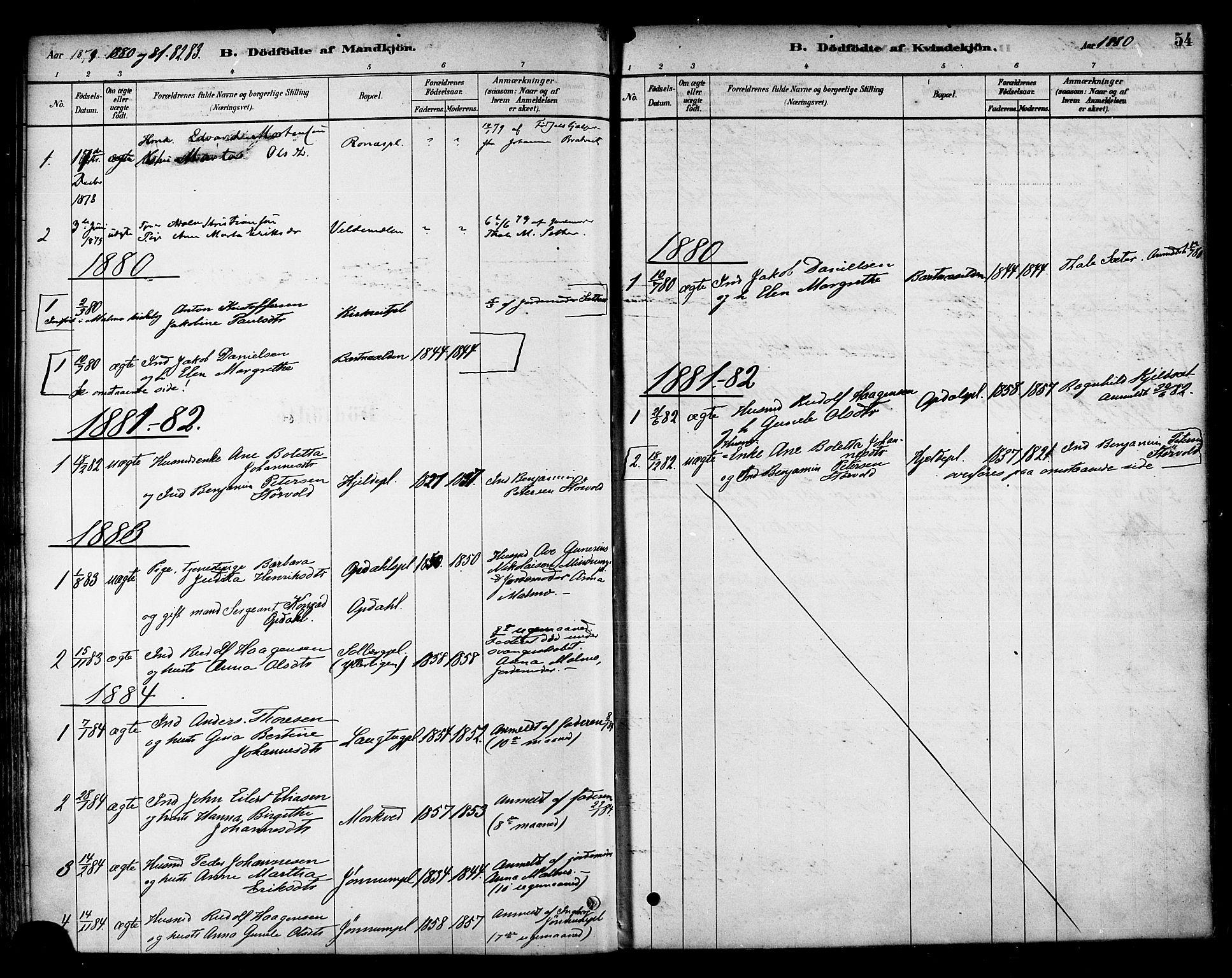 SAT, Ministerialprotokoller, klokkerbøker og fødselsregistre - Nord-Trøndelag, 741/L0395: Ministerialbok nr. 741A09, 1878-1888, s. 54