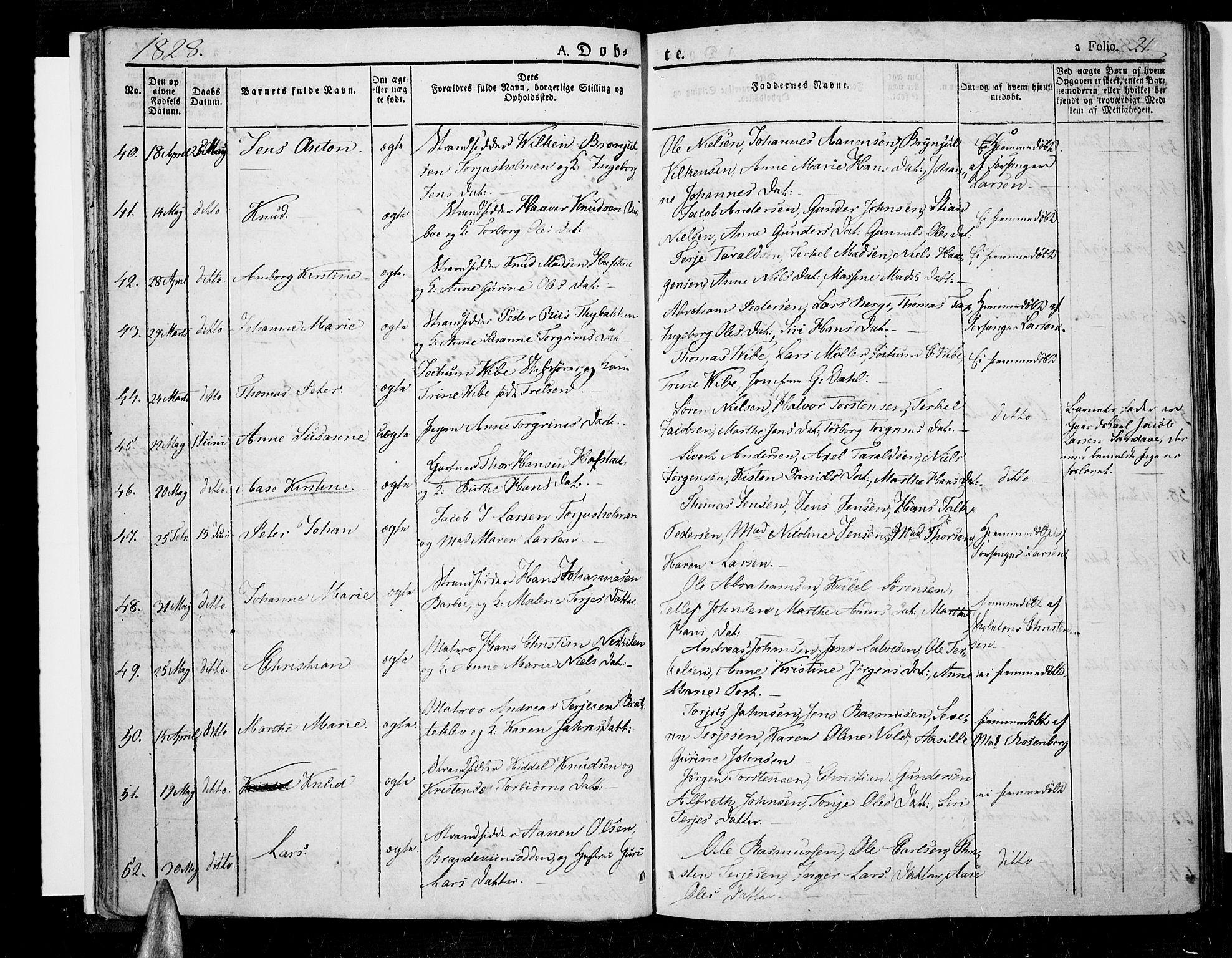 SAK, Tromøy sokneprestkontor, F/Fa/L0003: Ministerialbok nr. A 3, 1825-1837, s. 21