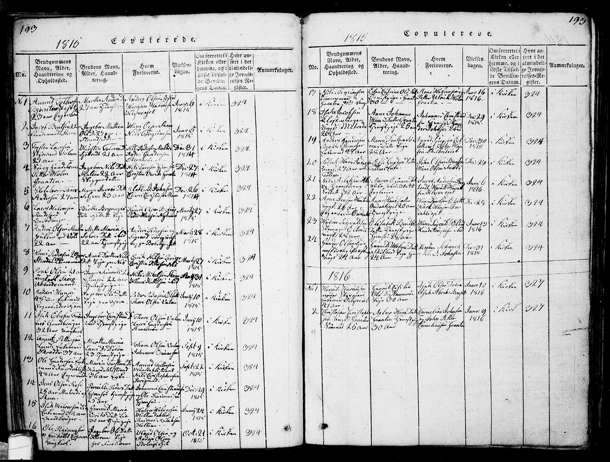 SAKO, Solum kirkebøker, G/Ga/L0001: Klokkerbok nr. I 1, 1814-1833, s. 193