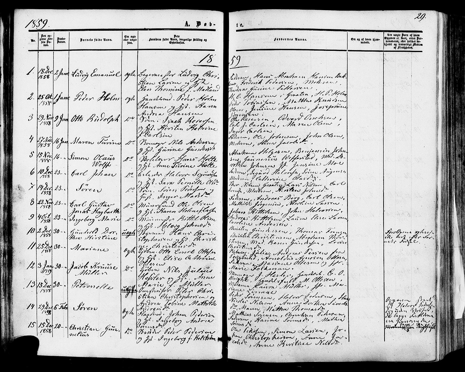 SAKO, Skien kirkebøker, F/Fa/L0007: Ministerialbok nr. 7, 1856-1865, s. 29