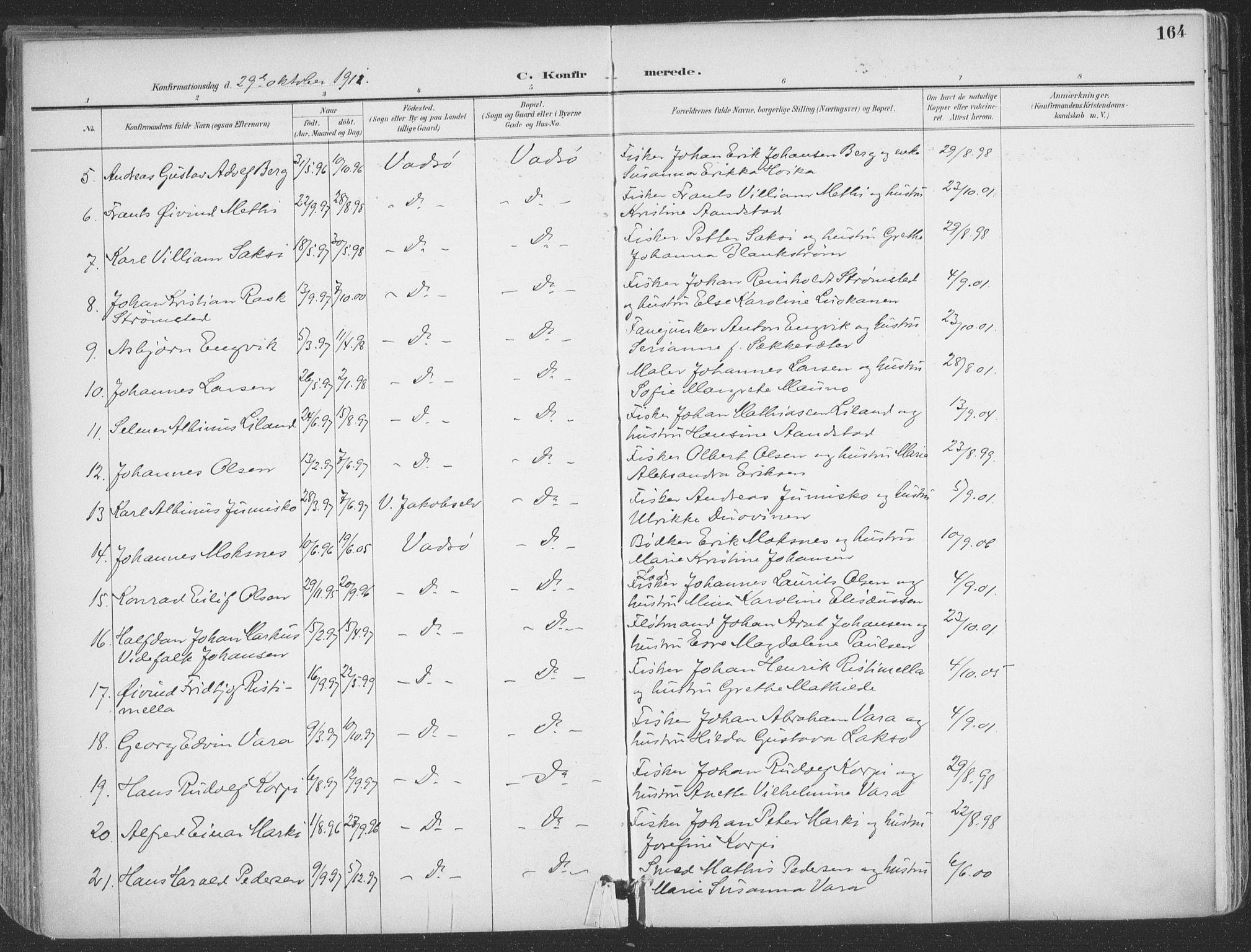 SATØ, Vadsø sokneprestkontor, H/Ha/L0007kirke: Ministerialbok nr. 7, 1896-1916, s. 164