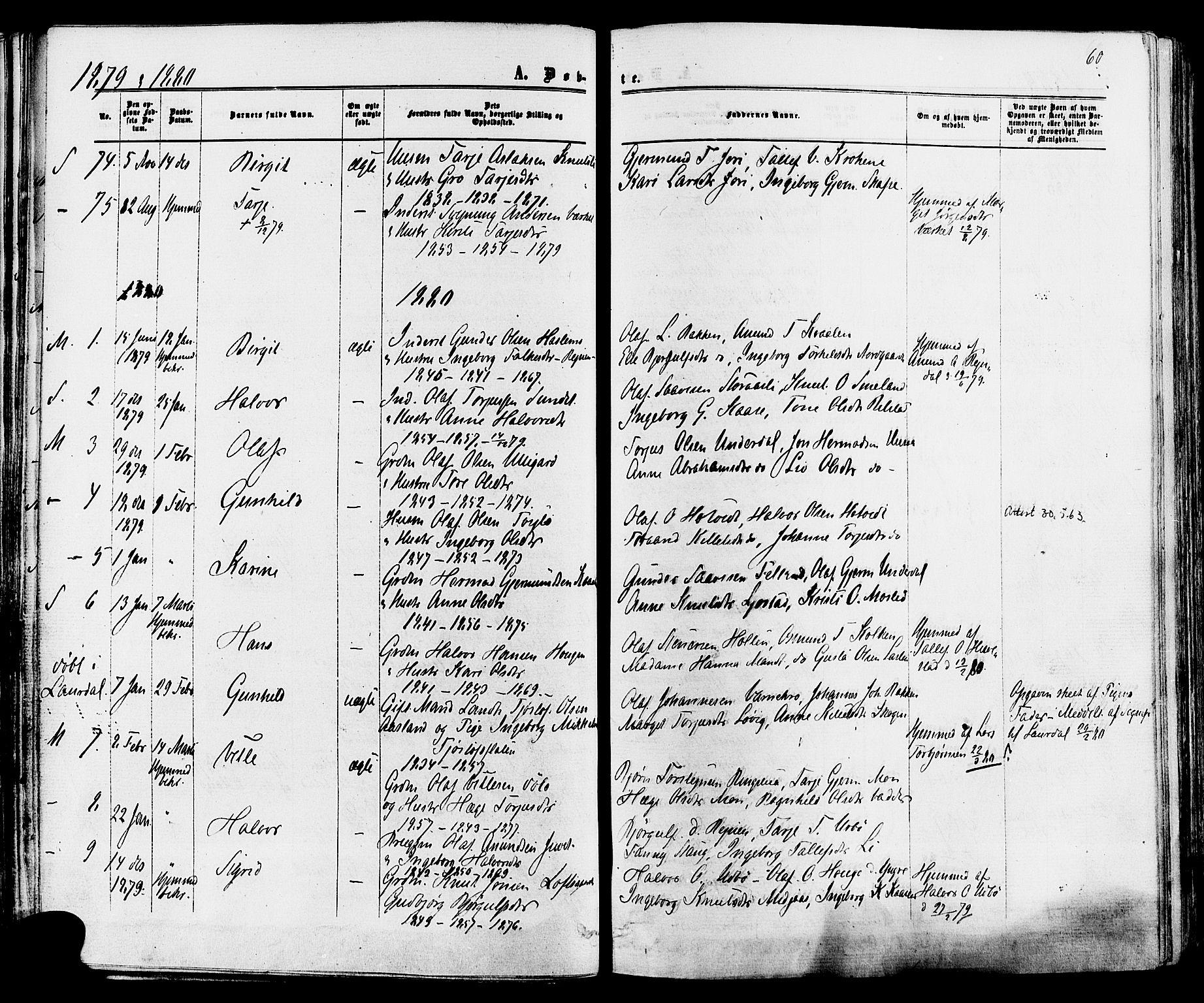SAKO, Mo kirkebøker, F/Fa/L0006: Ministerialbok nr. I 6, 1865-1885, s. 60