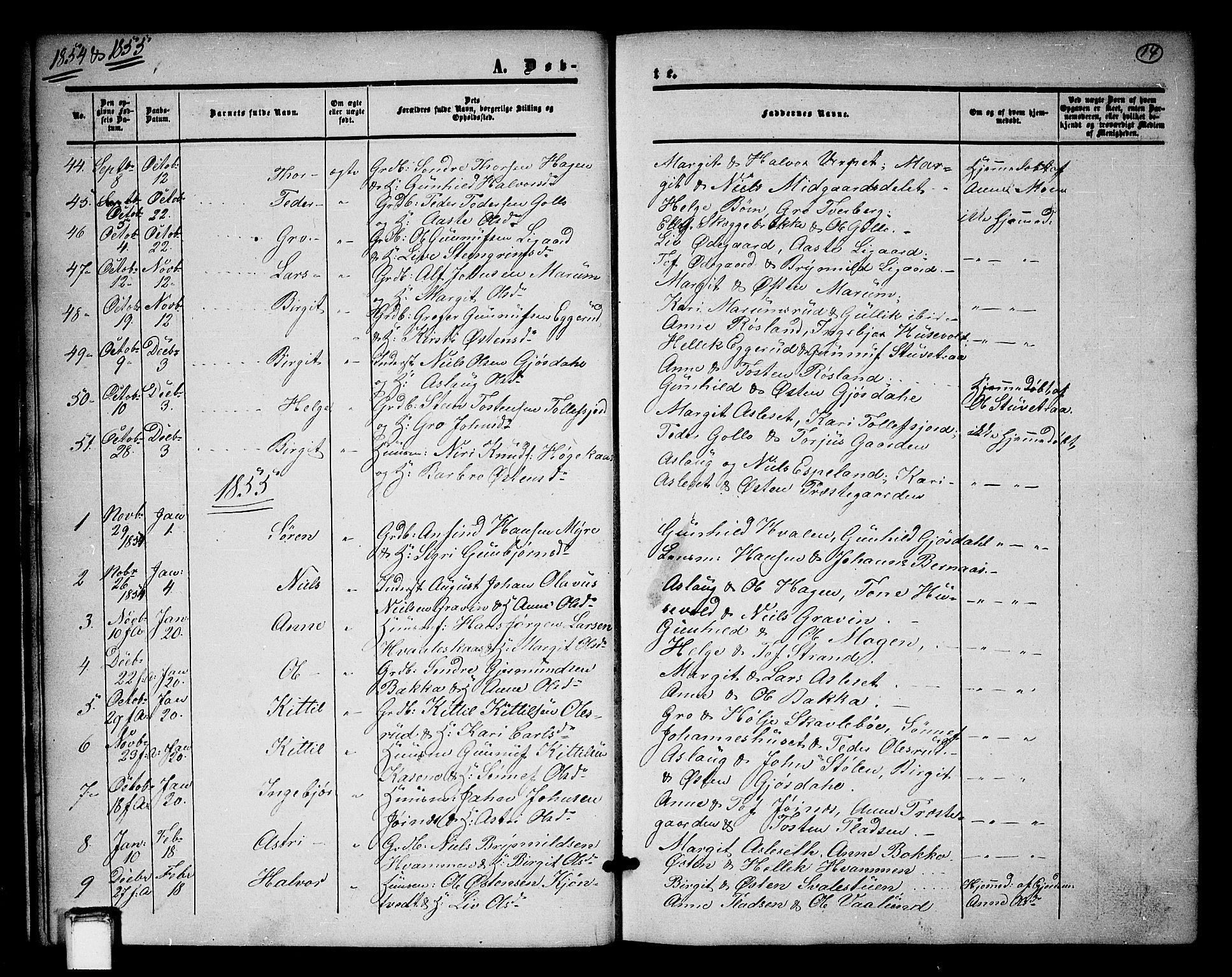 SAKO, Tinn kirkebøker, G/Ga/L0002: Klokkerbok nr. I 2, 1851-1883, s. 14