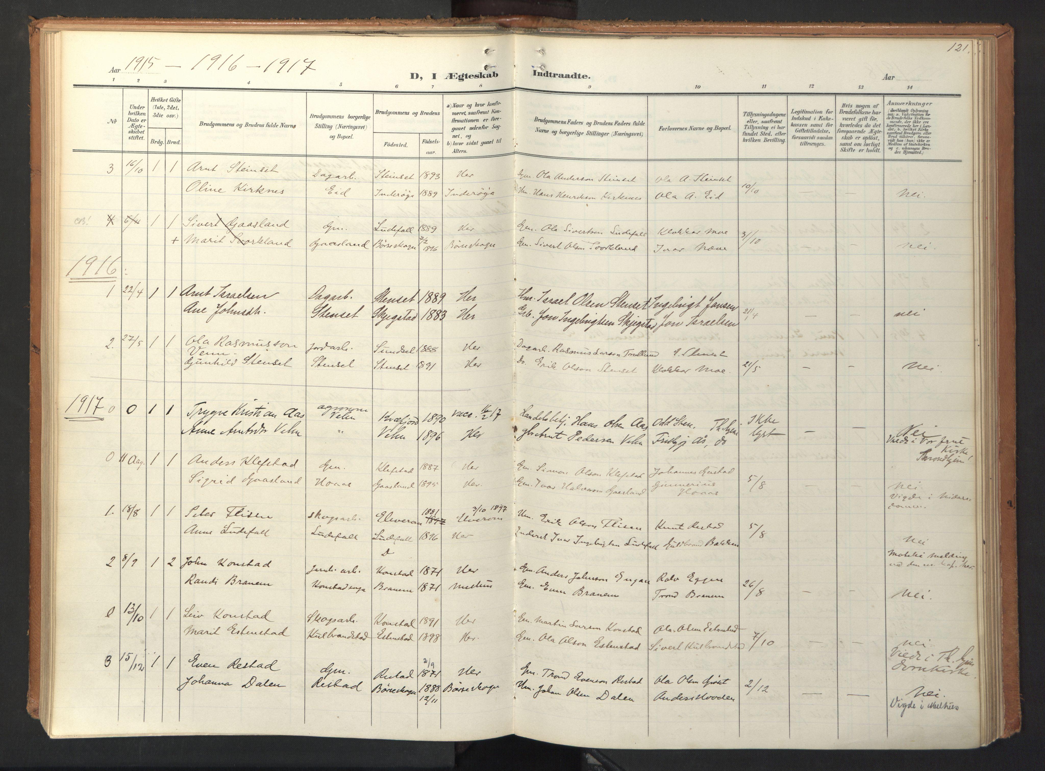 SAT, Ministerialprotokoller, klokkerbøker og fødselsregistre - Sør-Trøndelag, 694/L1128: Ministerialbok nr. 694A02, 1906-1931, s. 121