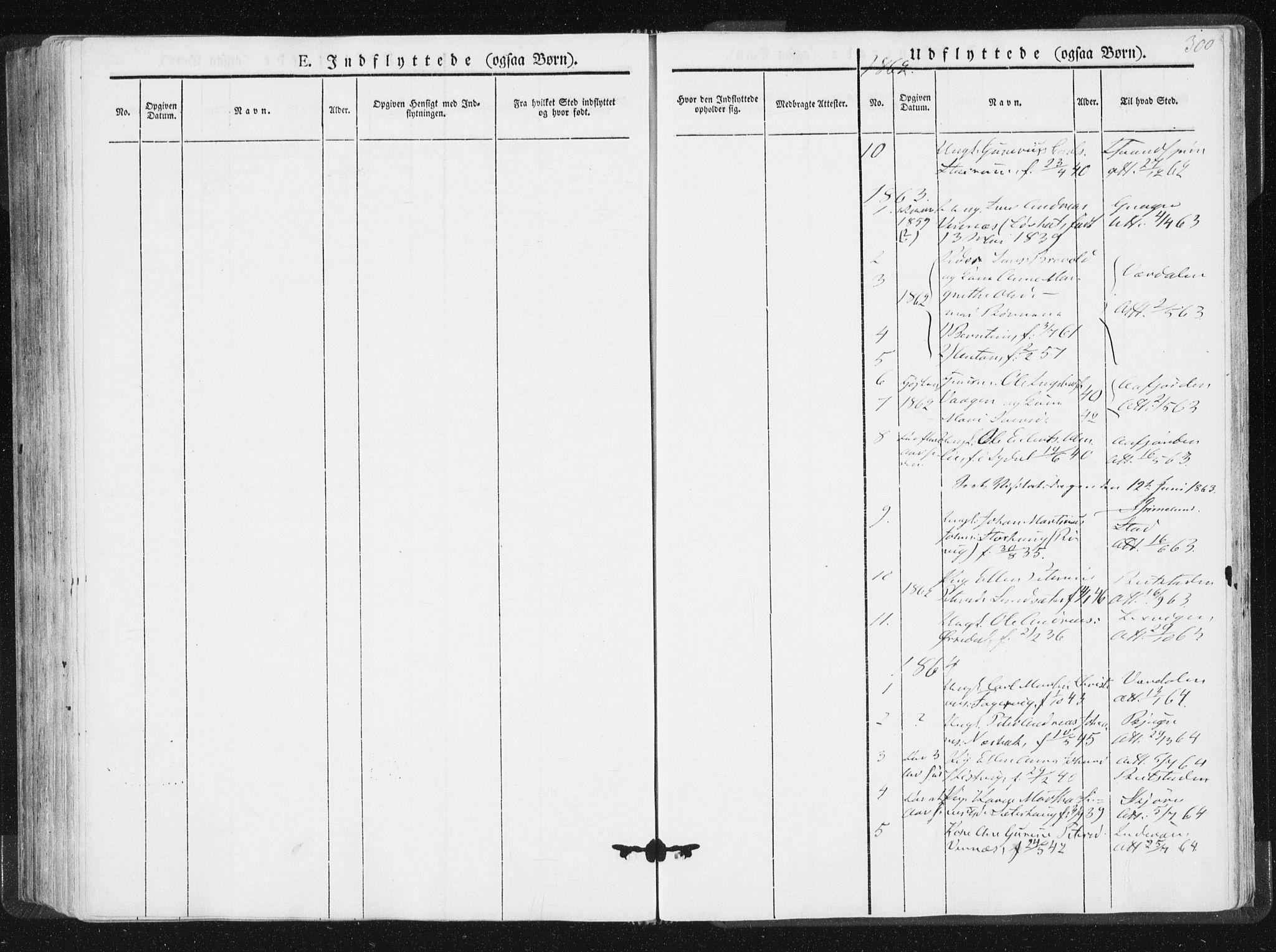 SAT, Ministerialprotokoller, klokkerbøker og fødselsregistre - Nord-Trøndelag, 744/L0418: Ministerialbok nr. 744A02, 1843-1866, s. 300