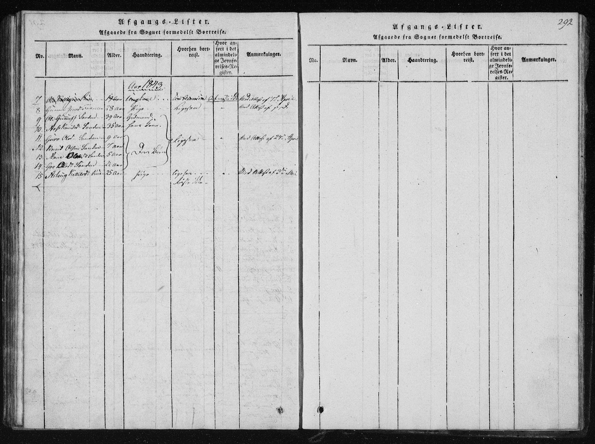 SAKO, Tinn kirkebøker, F/Fb/L0001: Ministerialbok nr. II 1, 1815-1843, s. 292