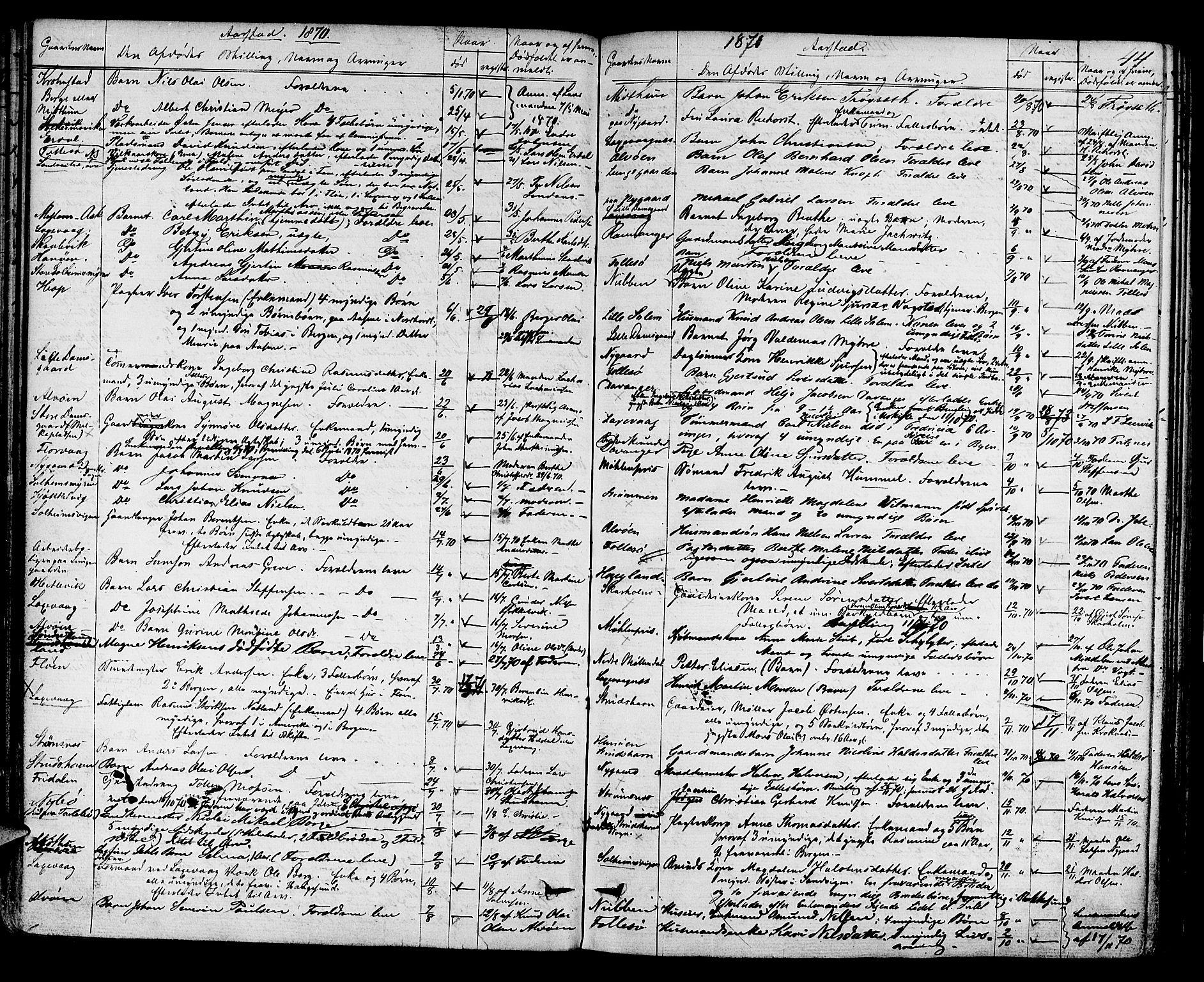 SAB, Midhordland sorenskriveri, H/Hk/Hka/L0002: Dødsfallprotokollar, 1863-1880, s. 44