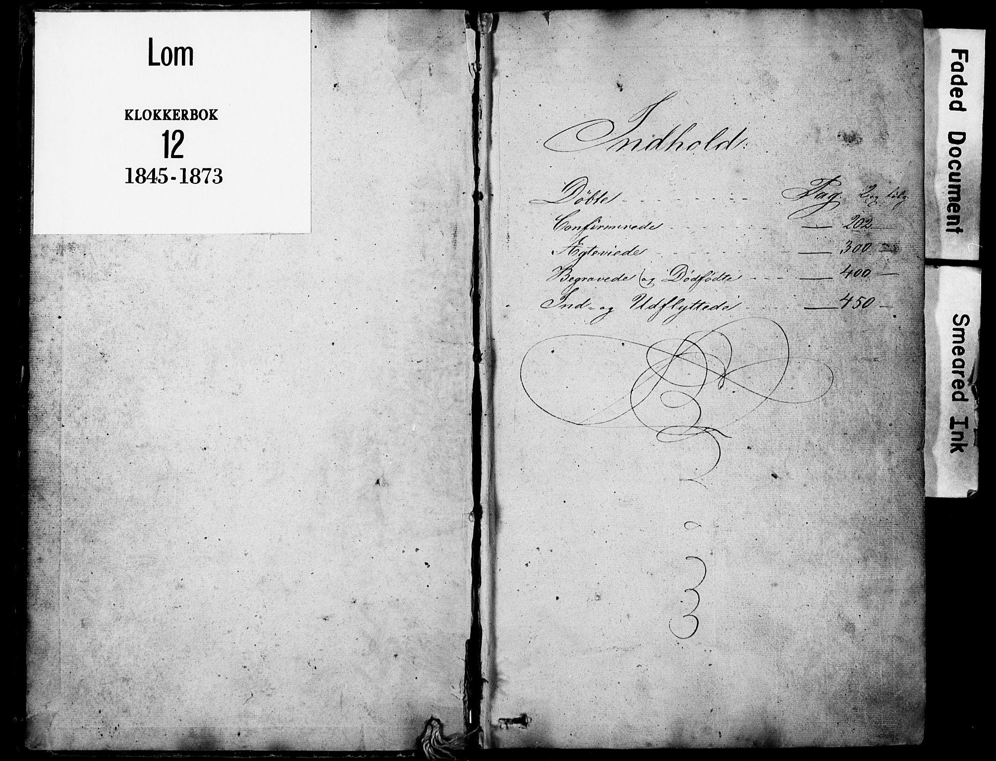 SAH, Lom prestekontor, L/L0012: Klokkerbok nr. 12, 1845-1873, s. 0-1