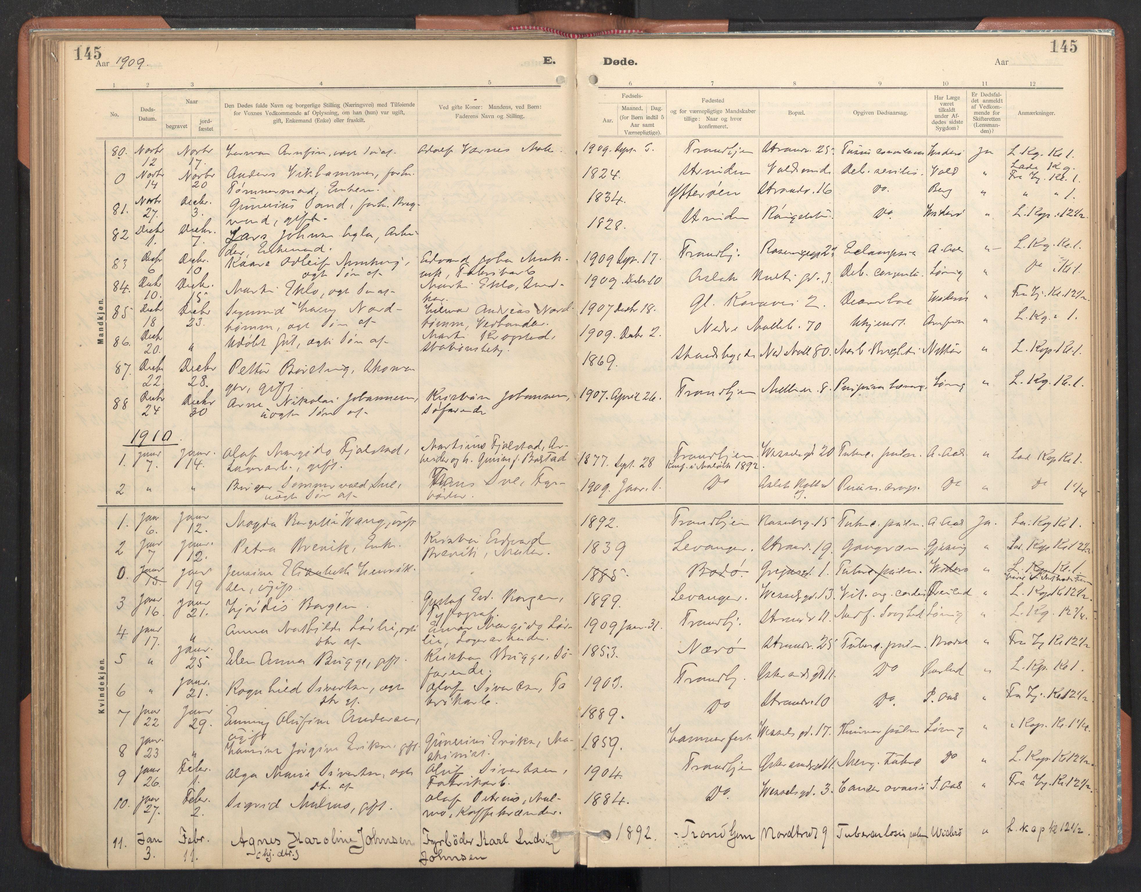 SAT, Ministerialprotokoller, klokkerbøker og fødselsregistre - Sør-Trøndelag, 605/L0244: Ministerialbok nr. 605A06, 1908-1954, s. 145