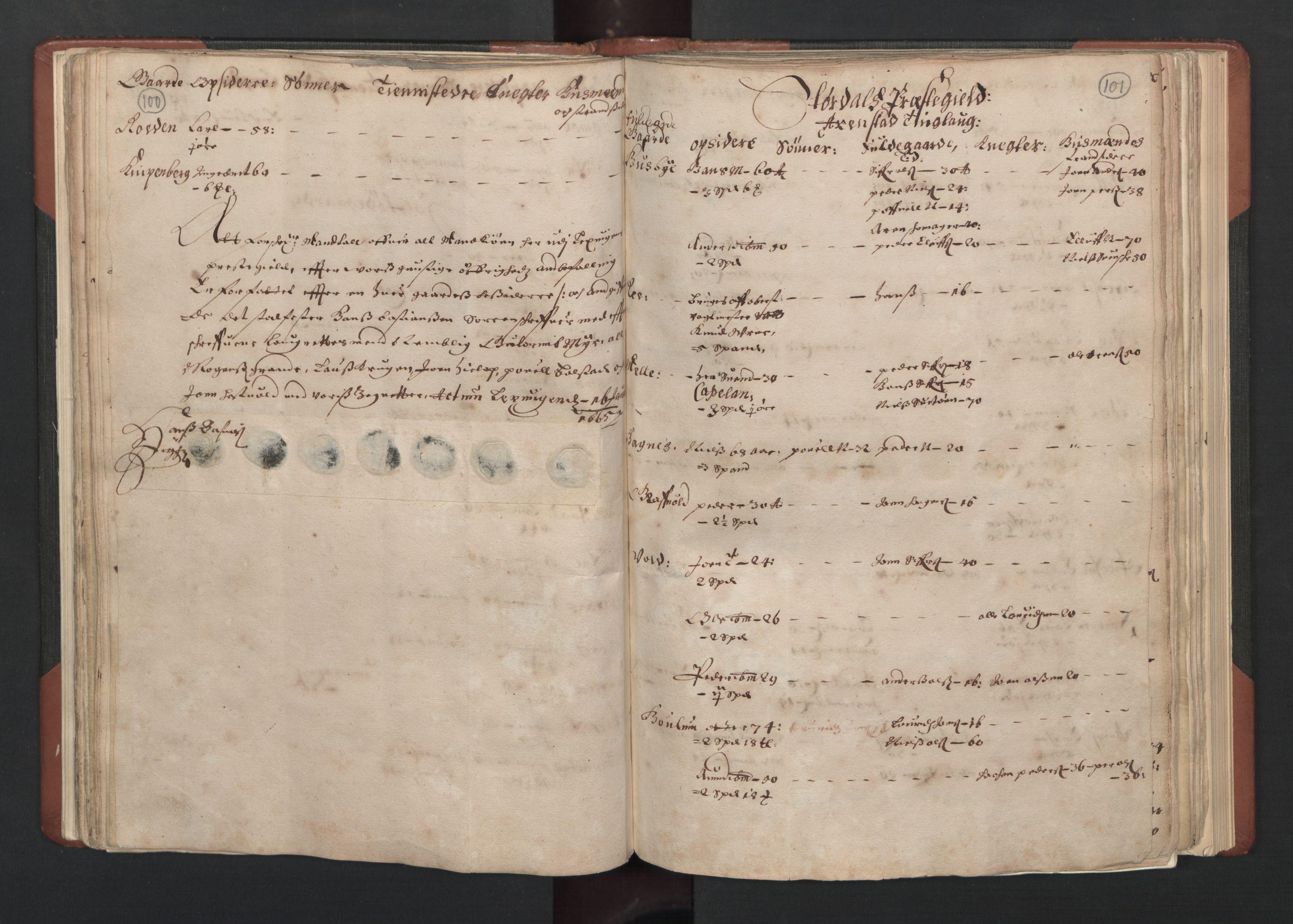 RA, Fogdenes og sorenskrivernes manntall 1664-1666, nr. 19: Fosen fogderi, Inderøy fogderi, Selbu fogderi, Namdal fogderi og Stjørdal fogderi, 1664-1665, s. 100-101
