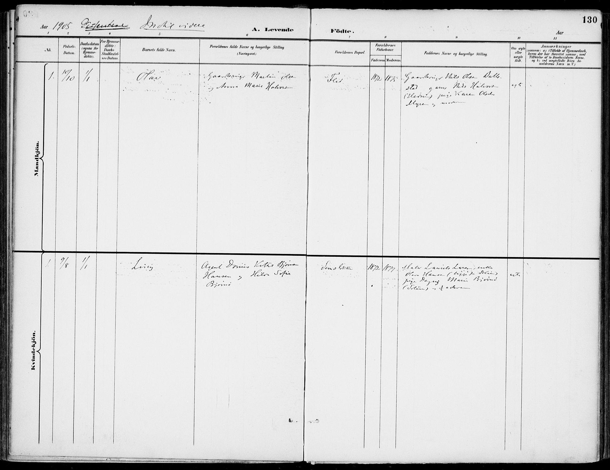 SAKO, Gjerpen kirkebøker, F/Fa/L0011: Ministerialbok nr. 11, 1896-1904, s. 130