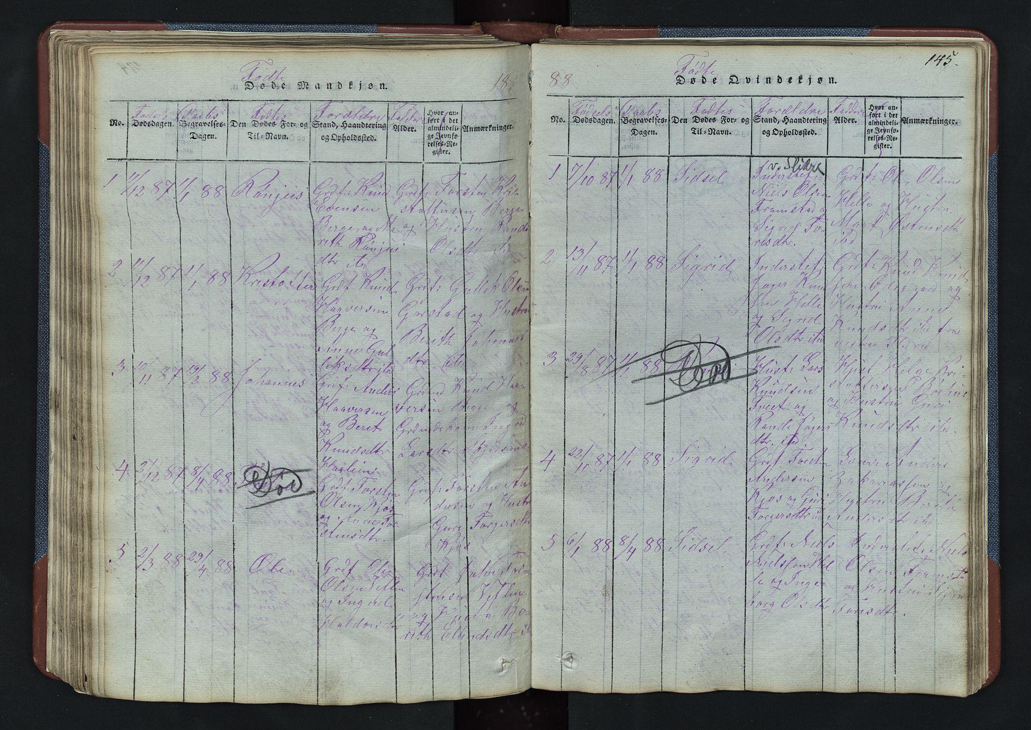 SAH, Vang prestekontor, Valdres, Klokkerbok nr. 3, 1814-1892, s. 145