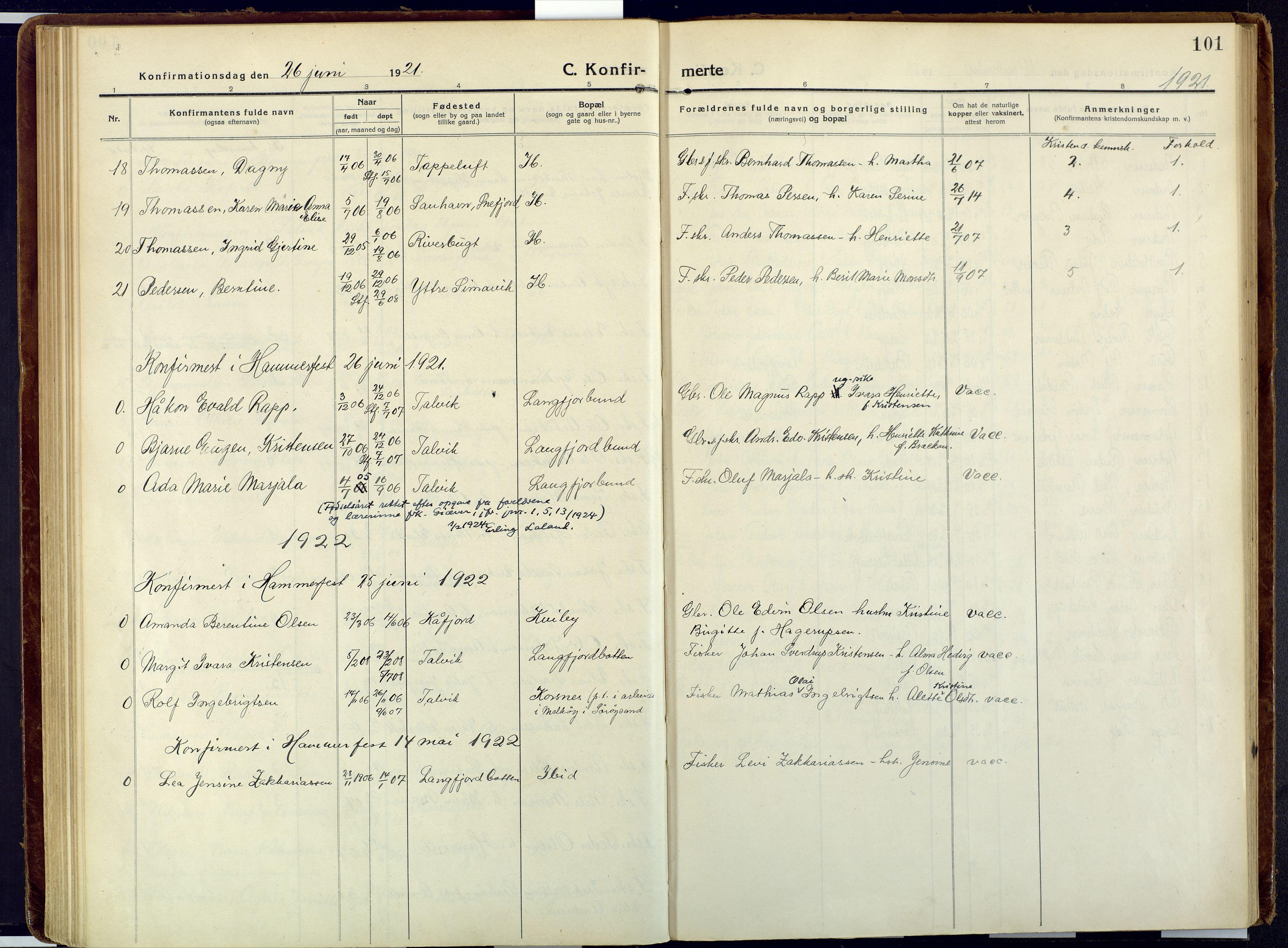SATØ, Talvik sokneprestkontor, H/Ha/L0018kirke: Ministerialbok nr. 18, 1915-1924, s. 101