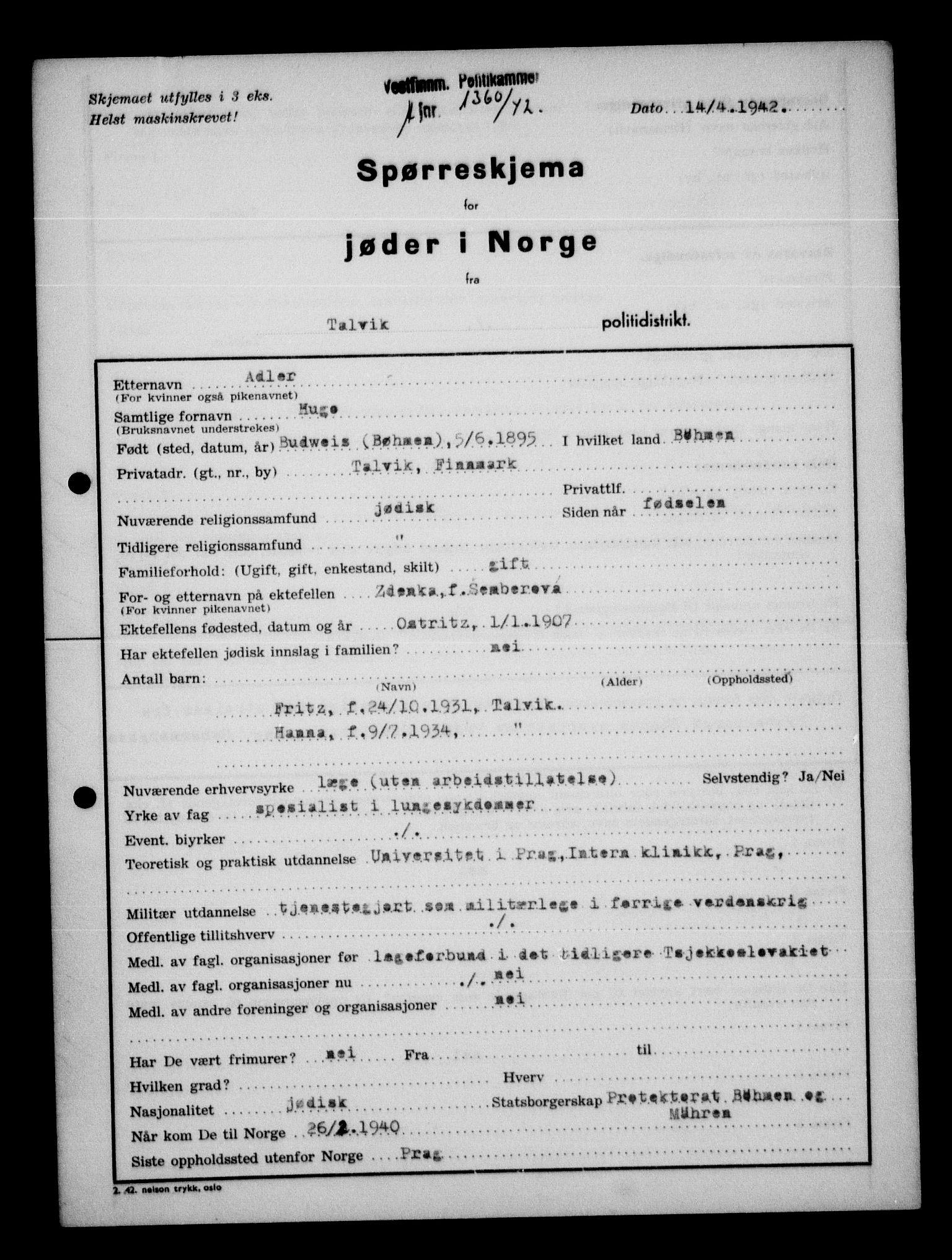 RA, Statspolitiet - Hovedkontoret / Osloavdelingen, G/Ga/L0013: Spørreskjema for jøder i Norge. 1: Sandefjord-Trondheim. 2: Tønsberg- Ålesund.  3: Skriv vedr. jøder A-H.  , 1942-1943, s. 206