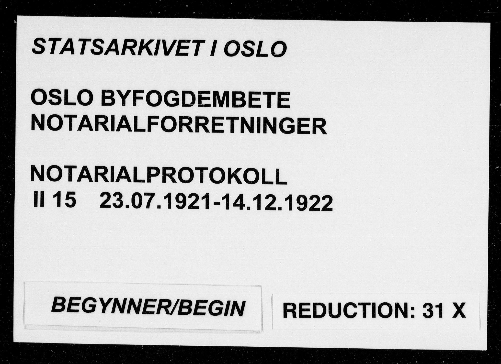 SAO, Oslo byfogd avd. I, L/Lb/Lbb/L0015: Notarialprotokoll, rekke II: Vigsler, 1921-1922, s. upaginert