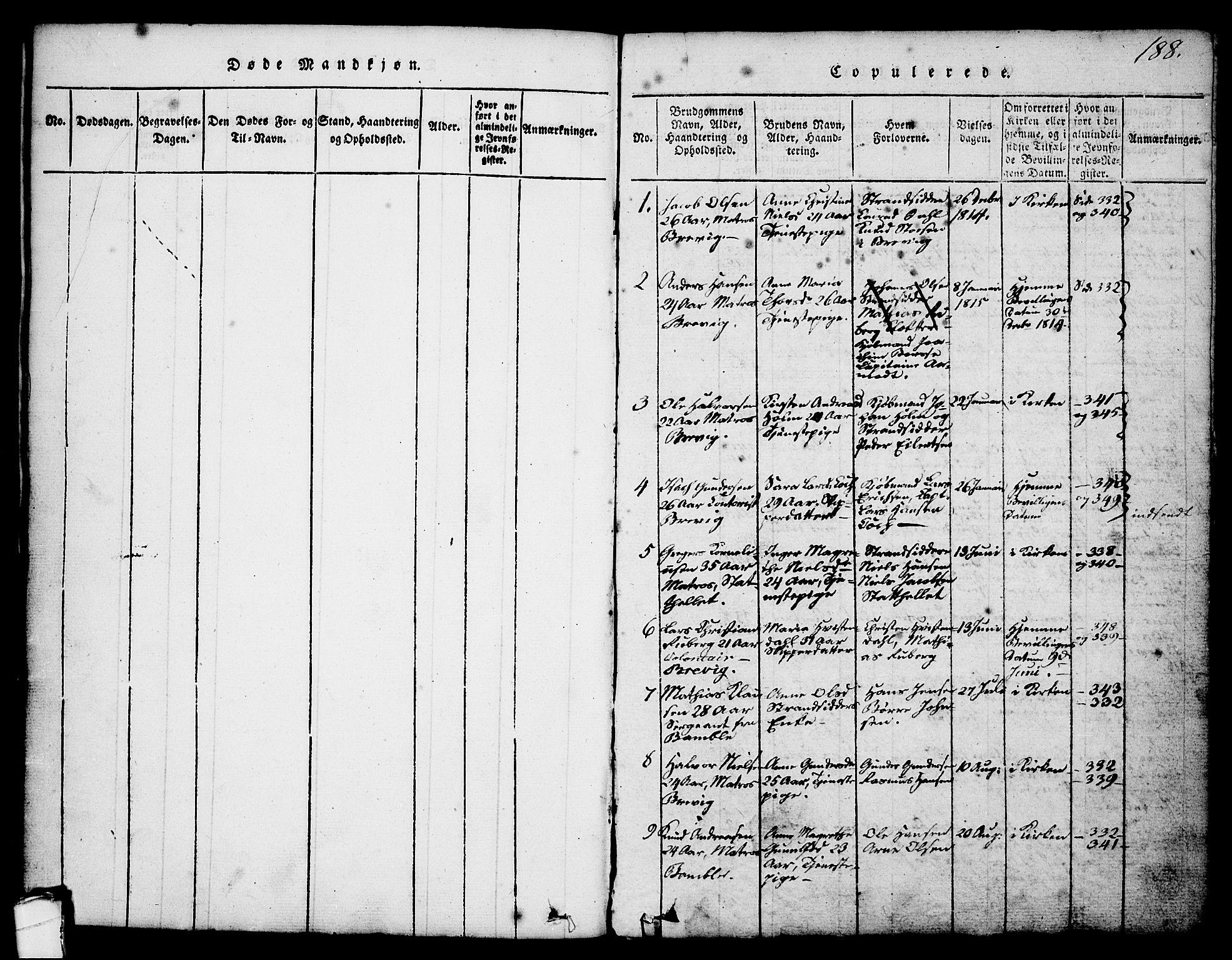 SAKO, Brevik kirkebøker, G/Ga/L0001: Klokkerbok nr. 1, 1814-1845, s. 188