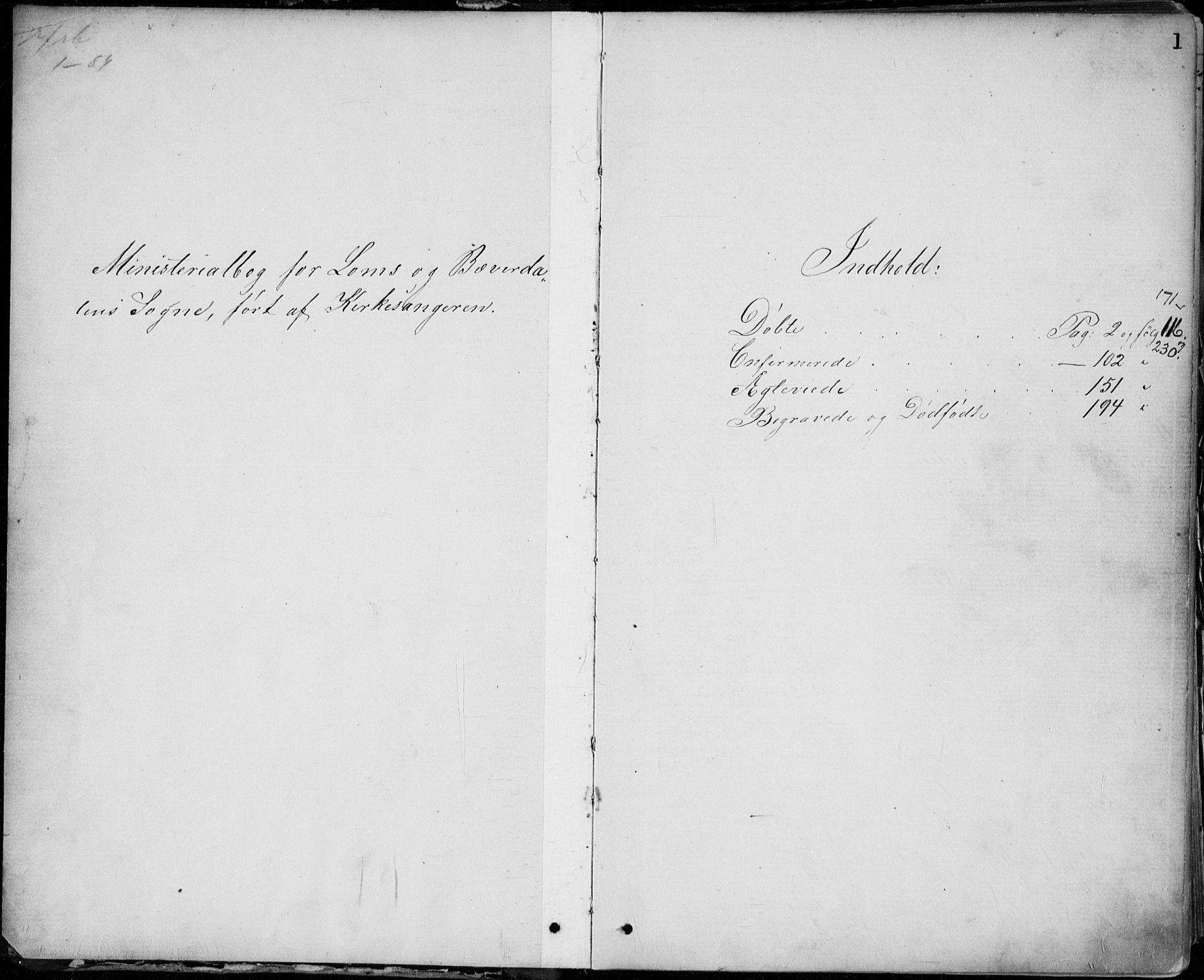 SAH, Lom prestekontor, L/L0013: Klokkerbok nr. 13, 1874-1938, s. 1