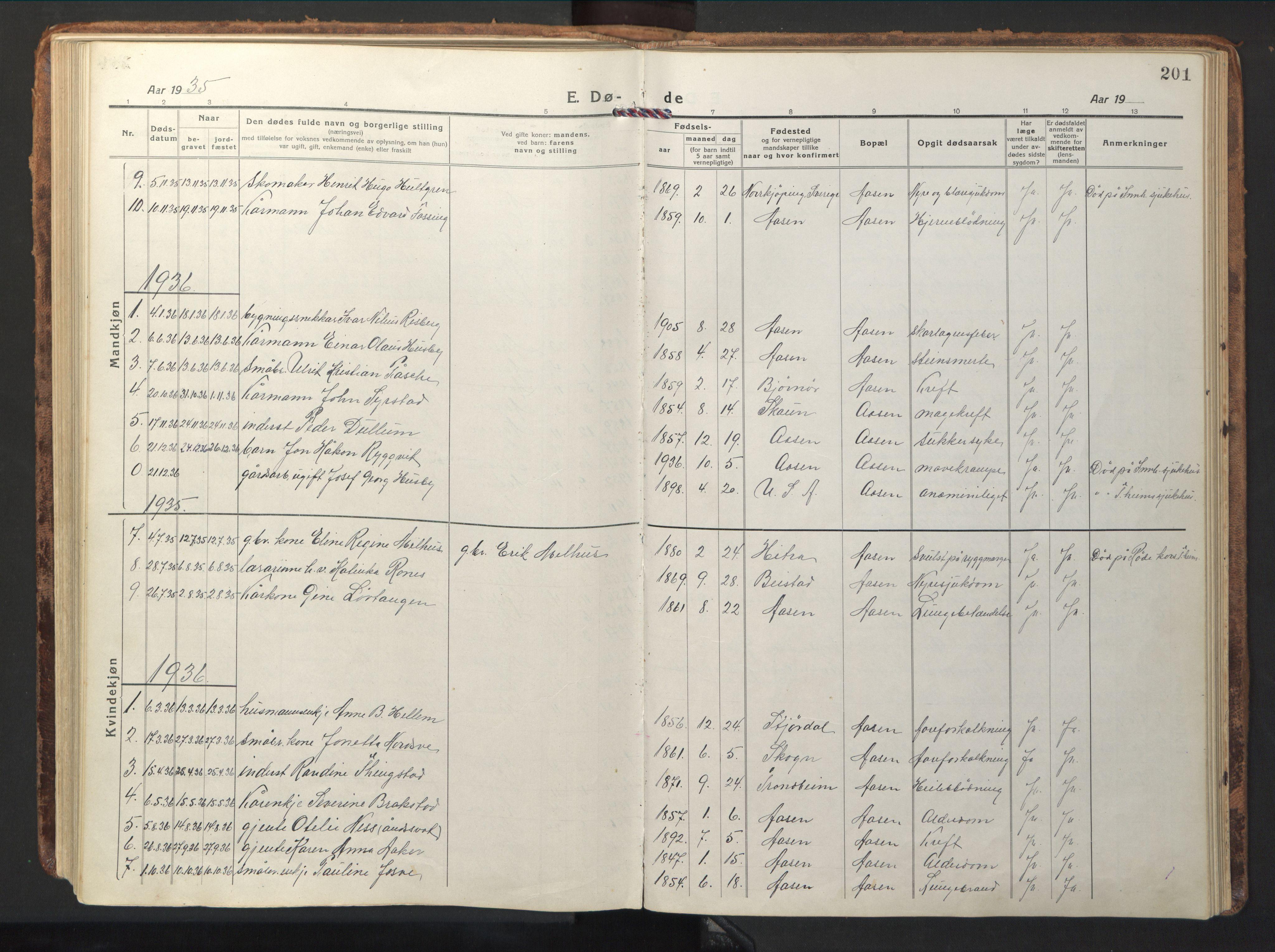 SAT, Ministerialprotokoller, klokkerbøker og fødselsregistre - Nord-Trøndelag, 714/L0136: Klokkerbok nr. 714C05, 1918-1957, s. 201