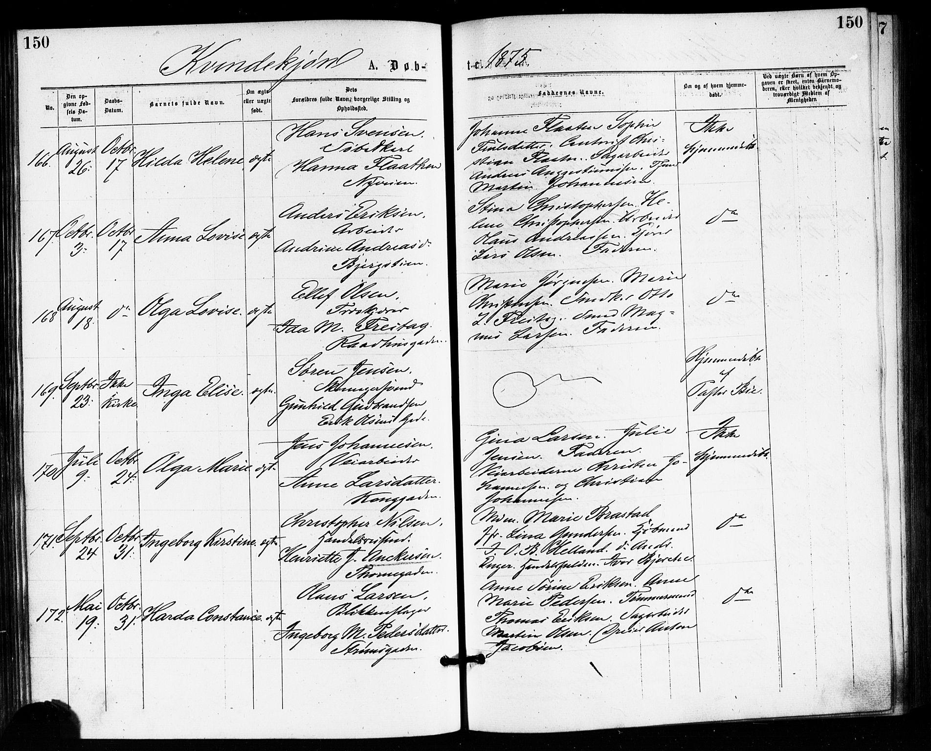 SAKO, Bragernes kirkebøker, F/Fb/L0005: Ministerialbok nr. II 5, 1875-1877, s. 150