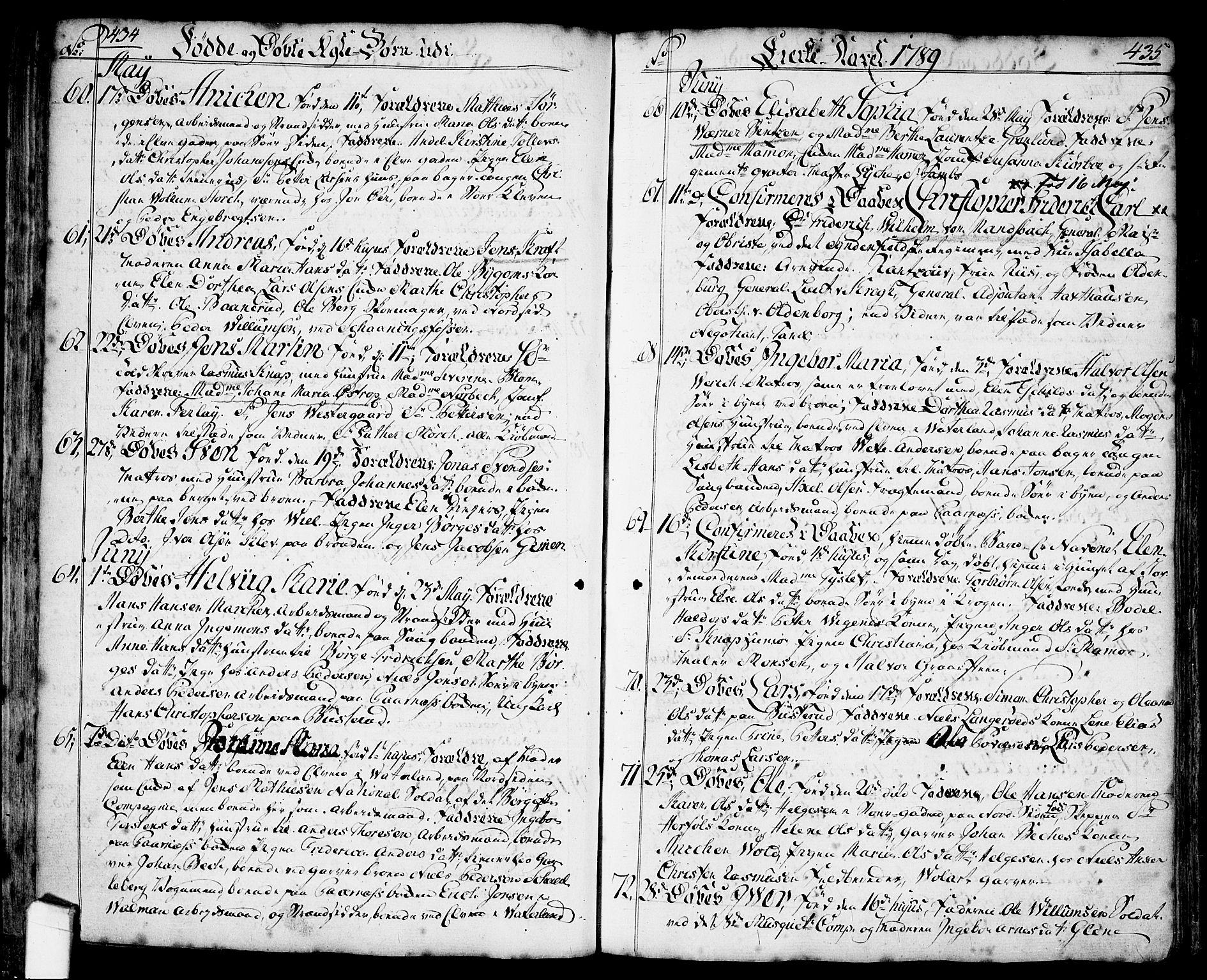 SAO, Halden prestekontor Kirkebøker, F/Fa/L0001: Ministerialbok nr. I 1, 1758-1791, s. 434-435