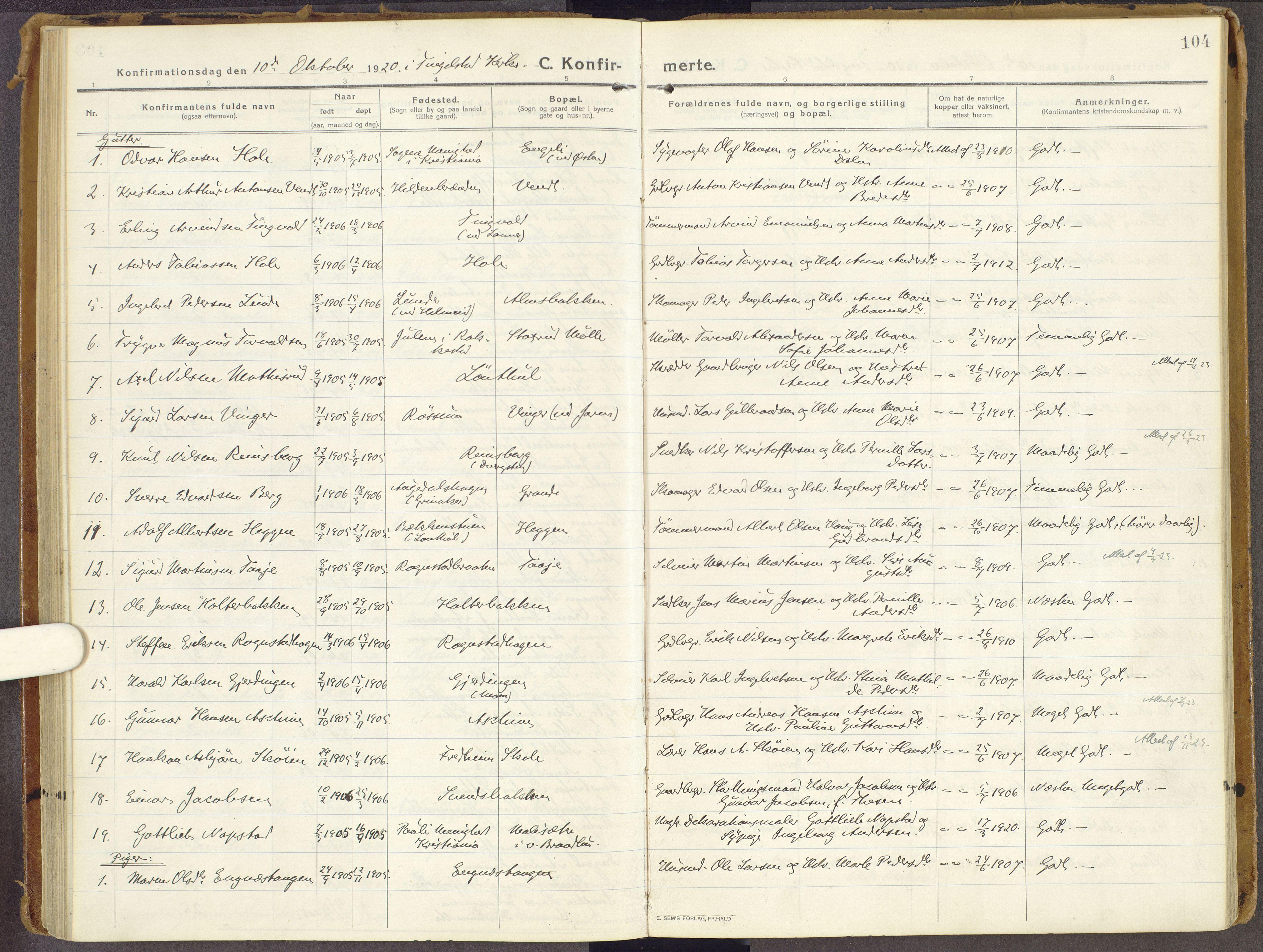 SAH, Brandbu prestekontor, Ministerialbok nr. 3, 1914-1928, s. 104