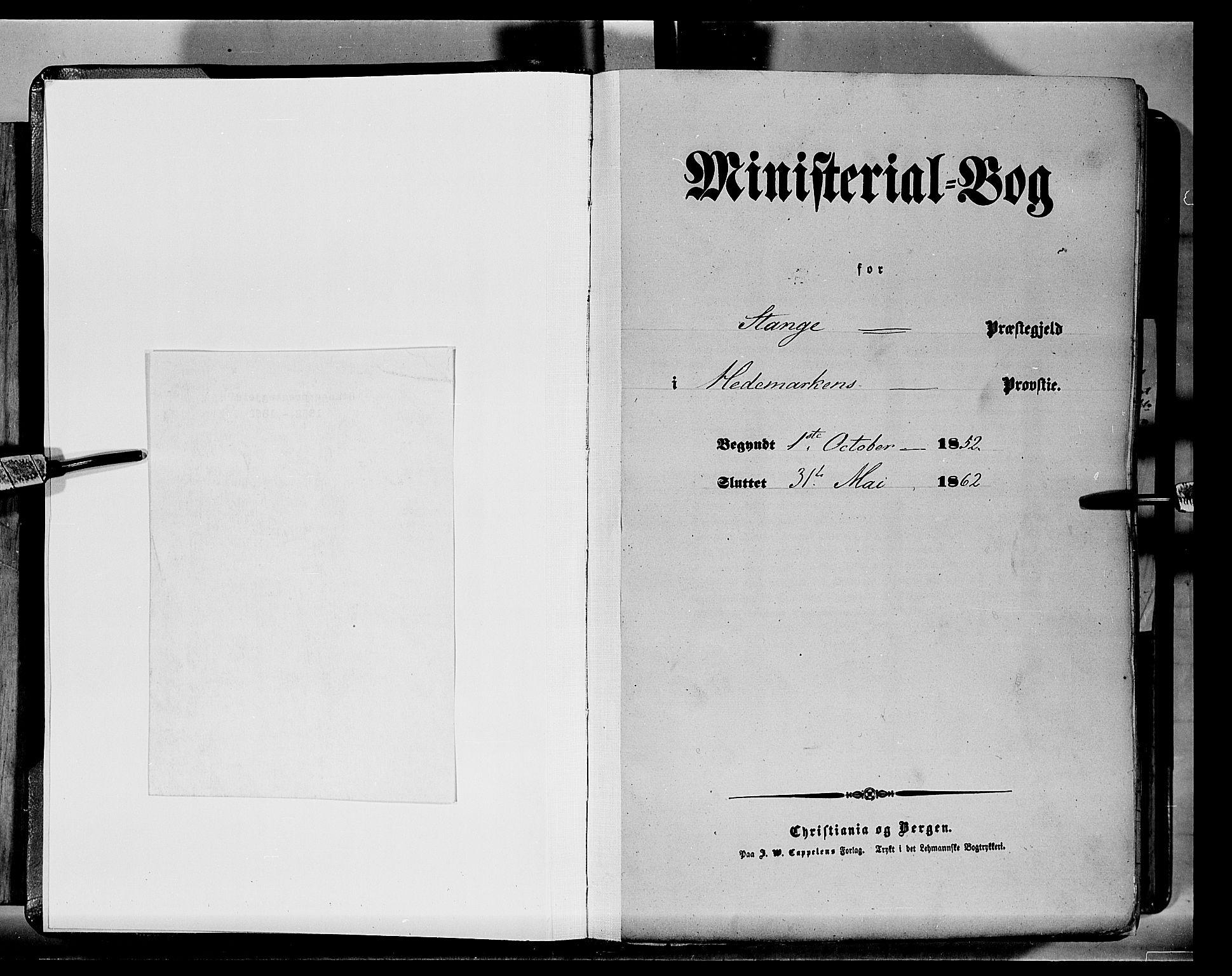 SAH, Stange prestekontor, K/L0012: Ministerialbok nr. 12, 1852-1862