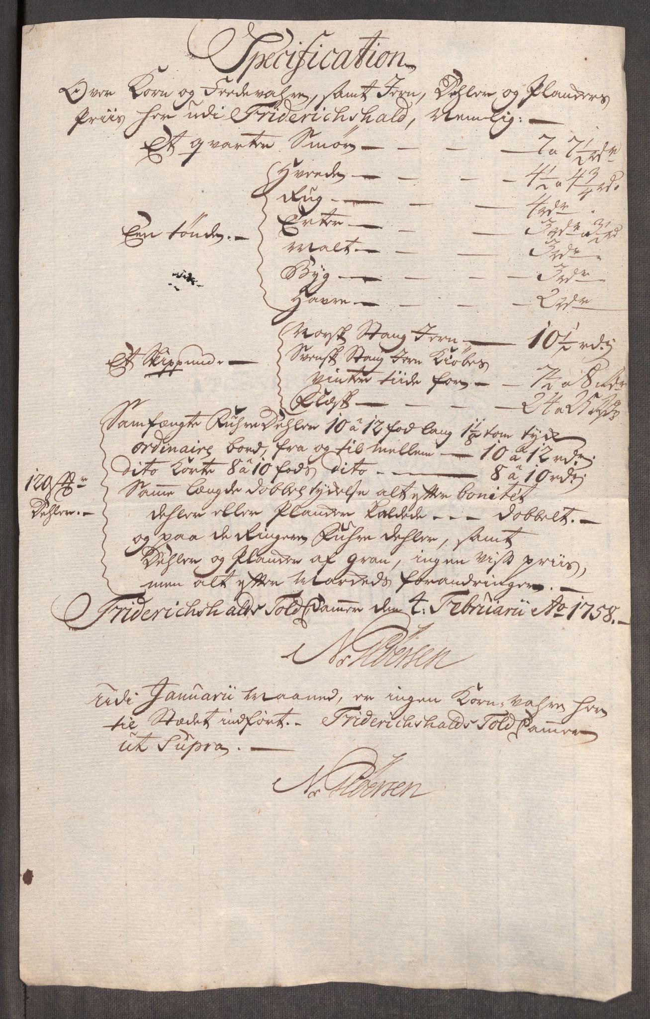 RA, Rentekammeret inntil 1814, Realistisk ordnet avdeling, Oe/L0006: [Ø1]: Priskuranter, 1758-1760, s. 4